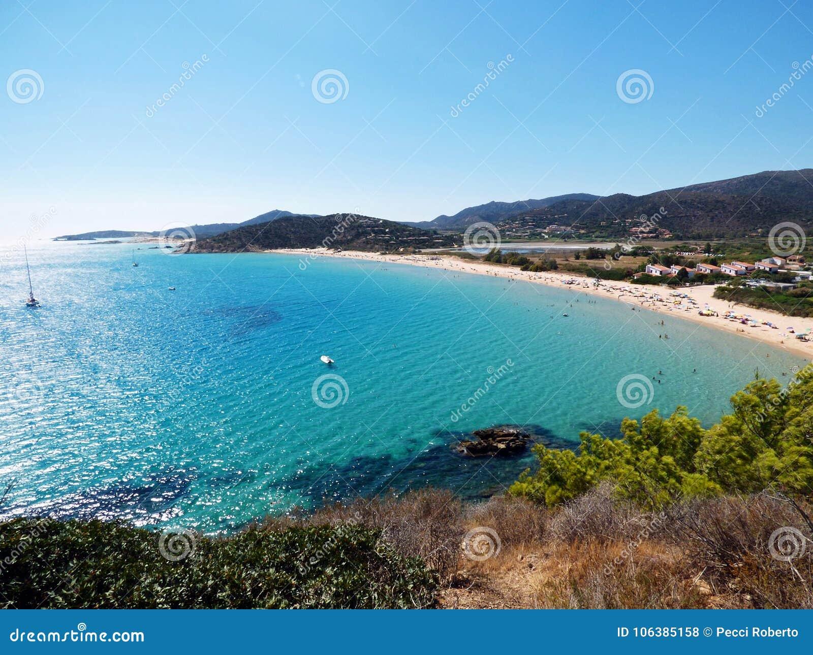 意大利,撒丁岛,卡利亚里,海滩Su Portu, Chia
