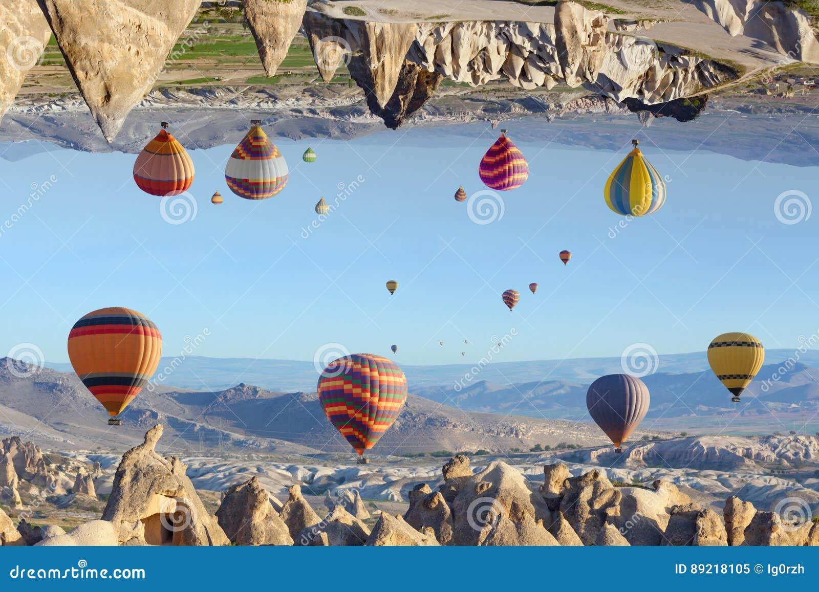 意想不到的虚幻的完全颠倒的风景在卡帕多细亚, Tur