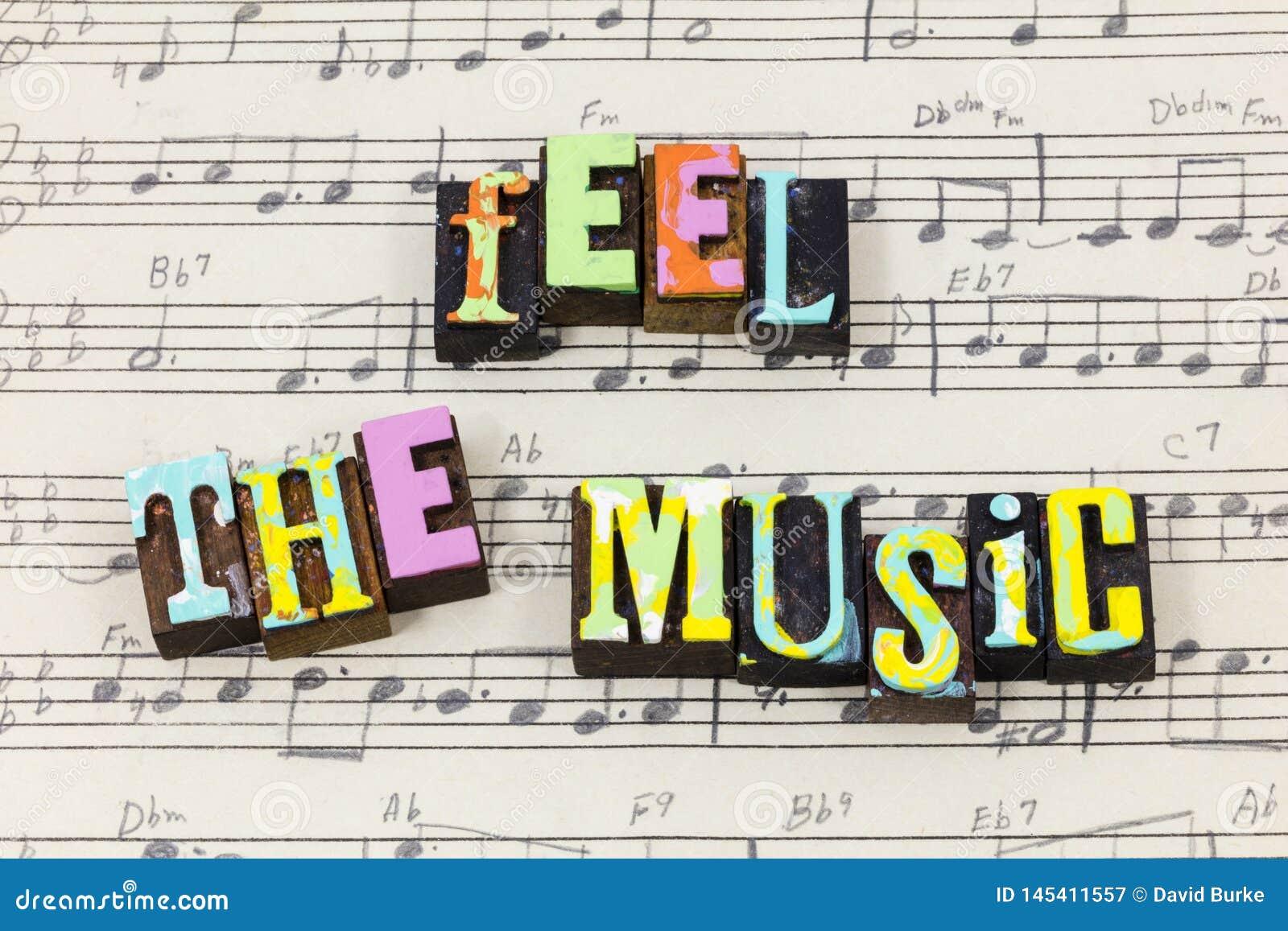 感受音乐音乐板料爱活生活享用喜悦印刷术字体
