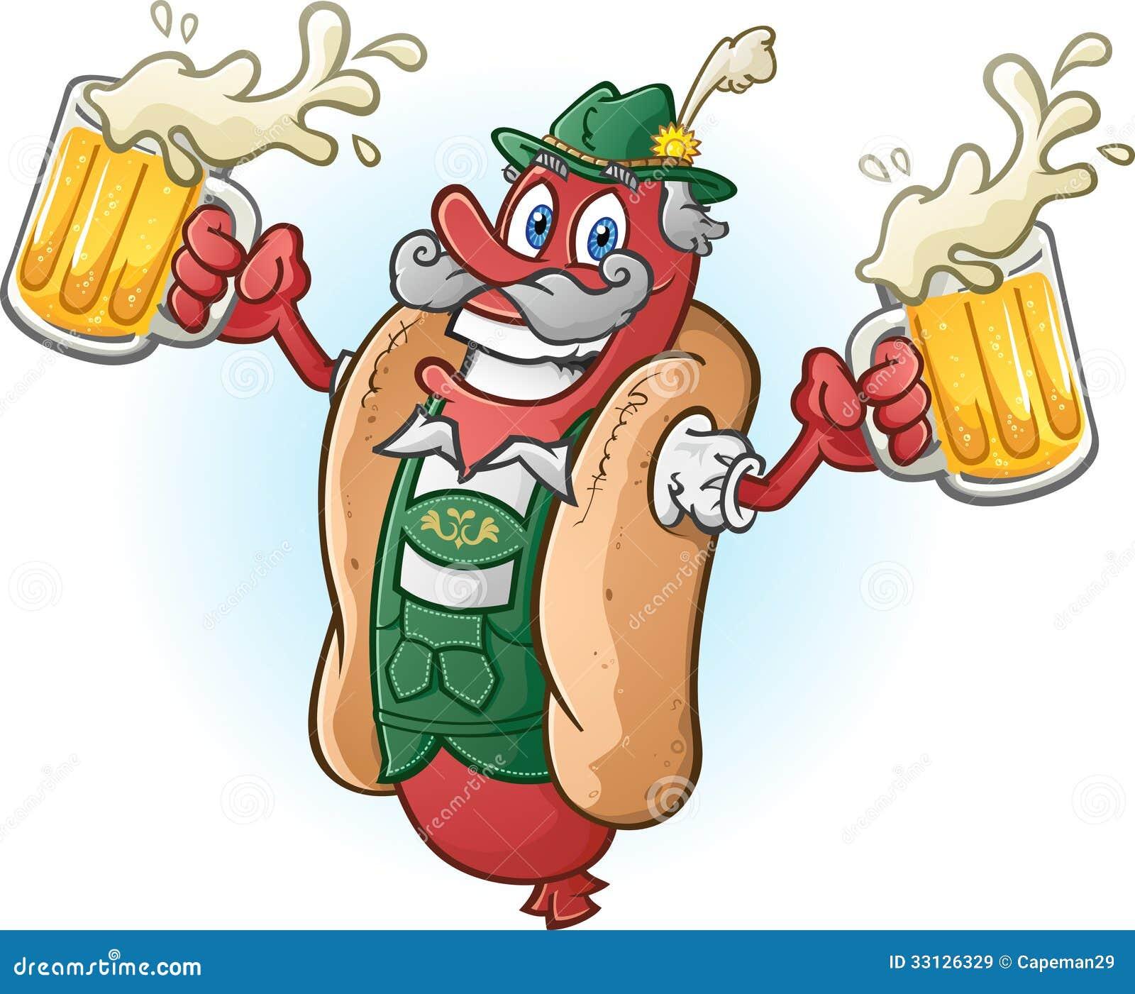 慕尼黑啤酒节多味腊肠热狗漫画人物饮用的啤酒