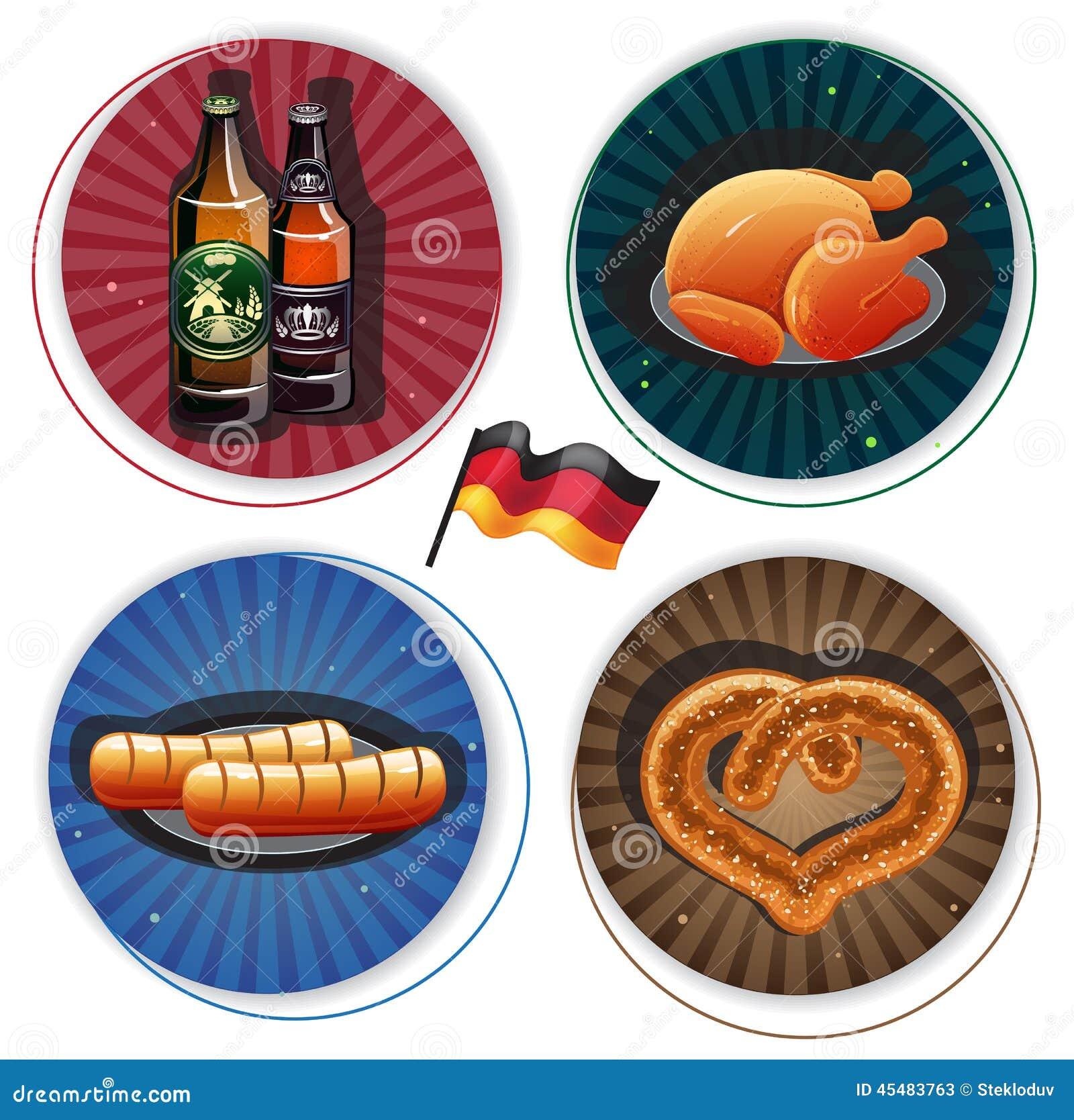 慕尼黑啤酒节标签用啤酒和快餐