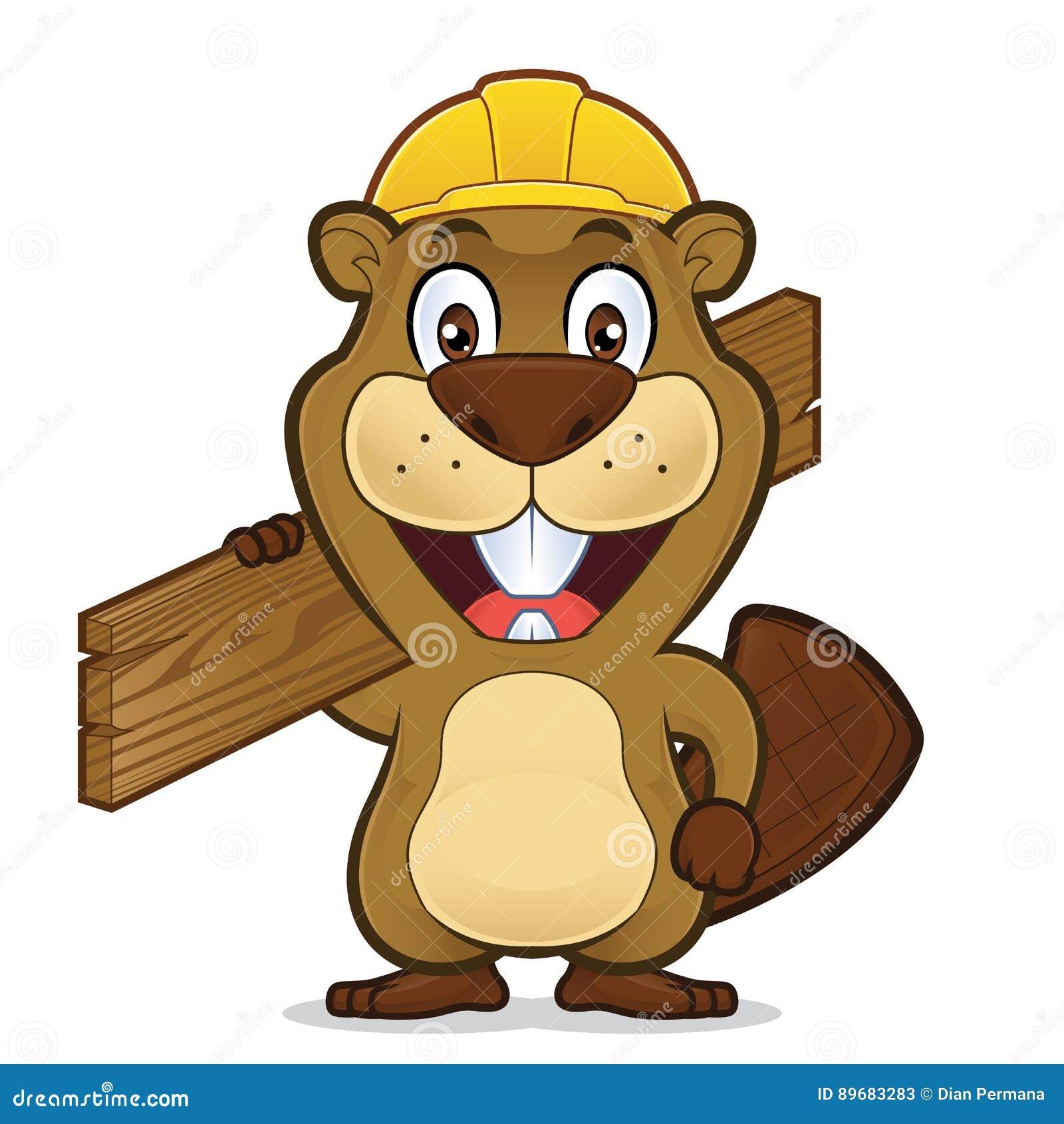 慢慢移动戴建筑帽子和拿着木头板条