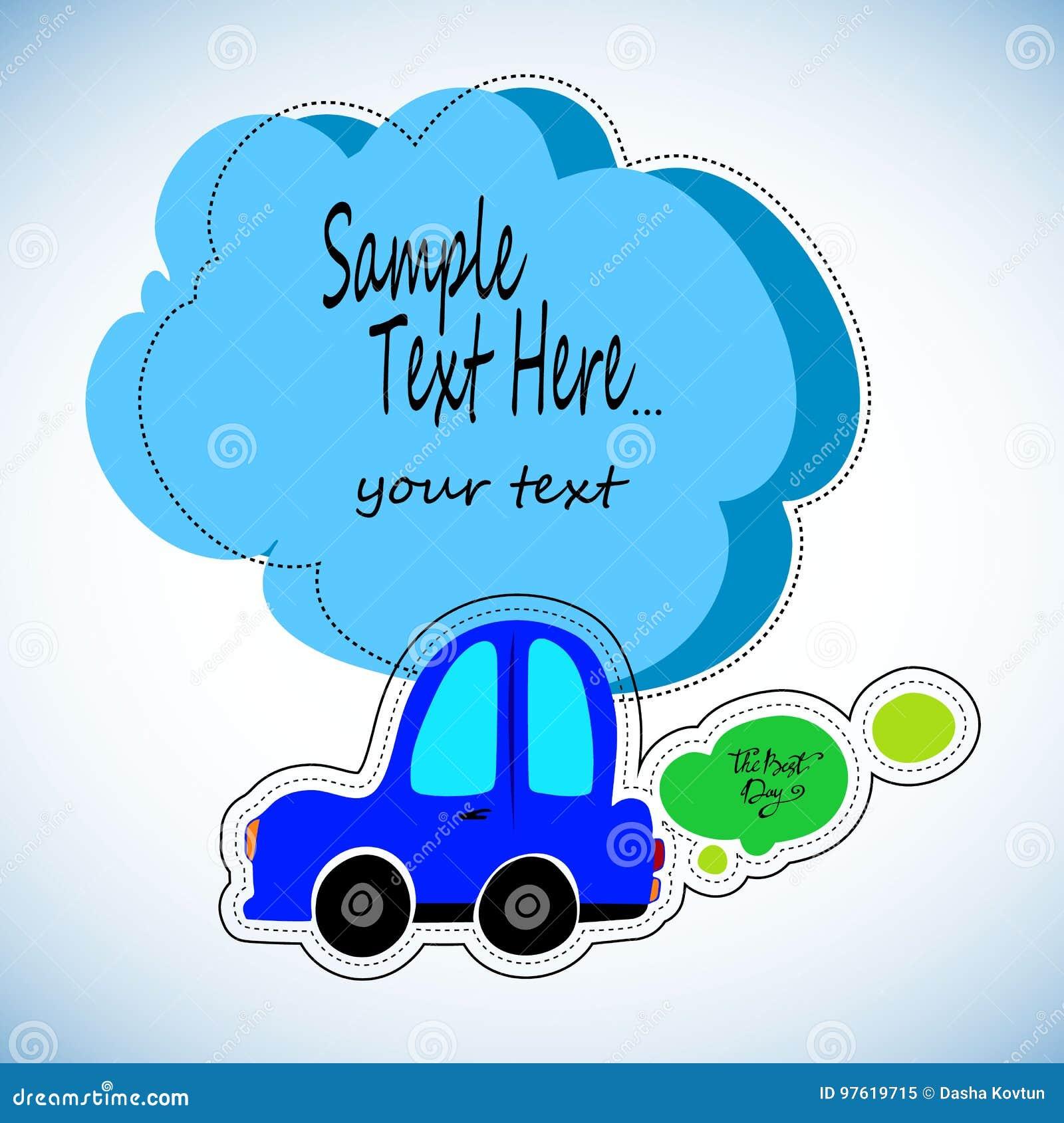 戏弄在蓝色背景的汽车白色概述 车旅行 孩子的贴纸机器的题材的 向量Illustratio