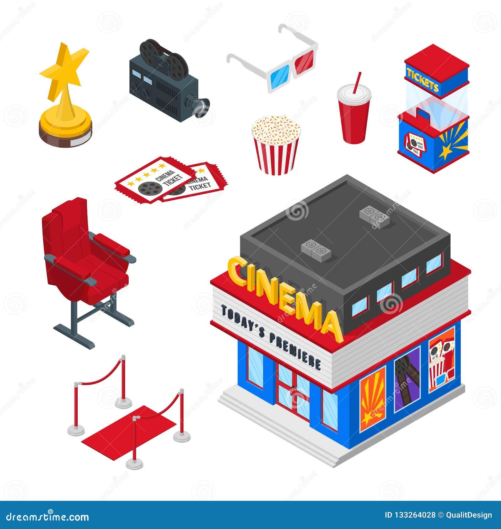 戏院剧院传染媒介3d等量象和设计元素集 票,玉米花例证 观看的电影概念