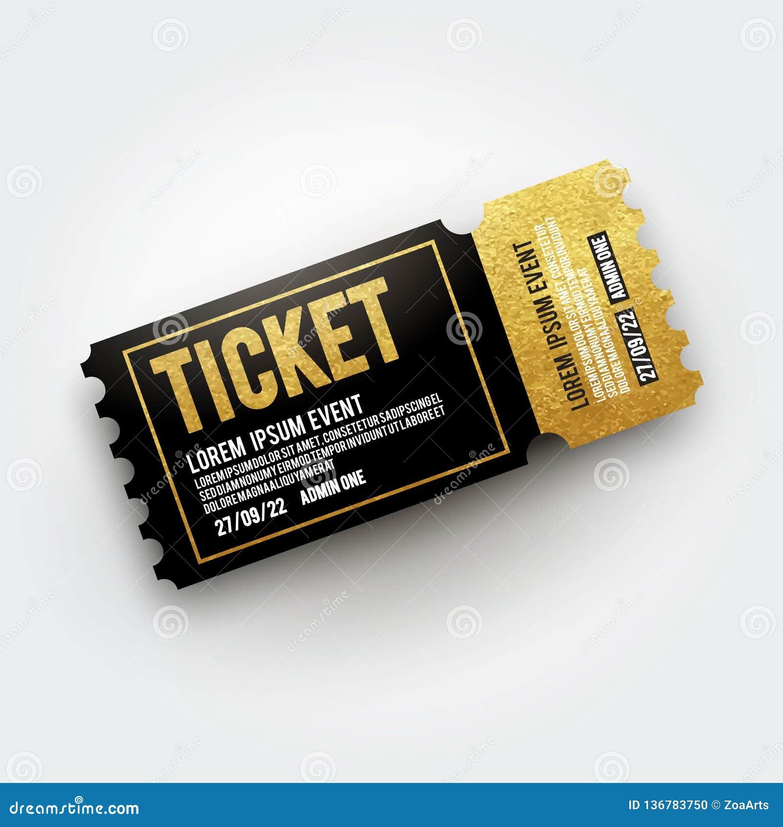 戏院的,剧院,音乐会,电影,表现,党,事件节日传染媒介票 现实黑色和金vip票templat