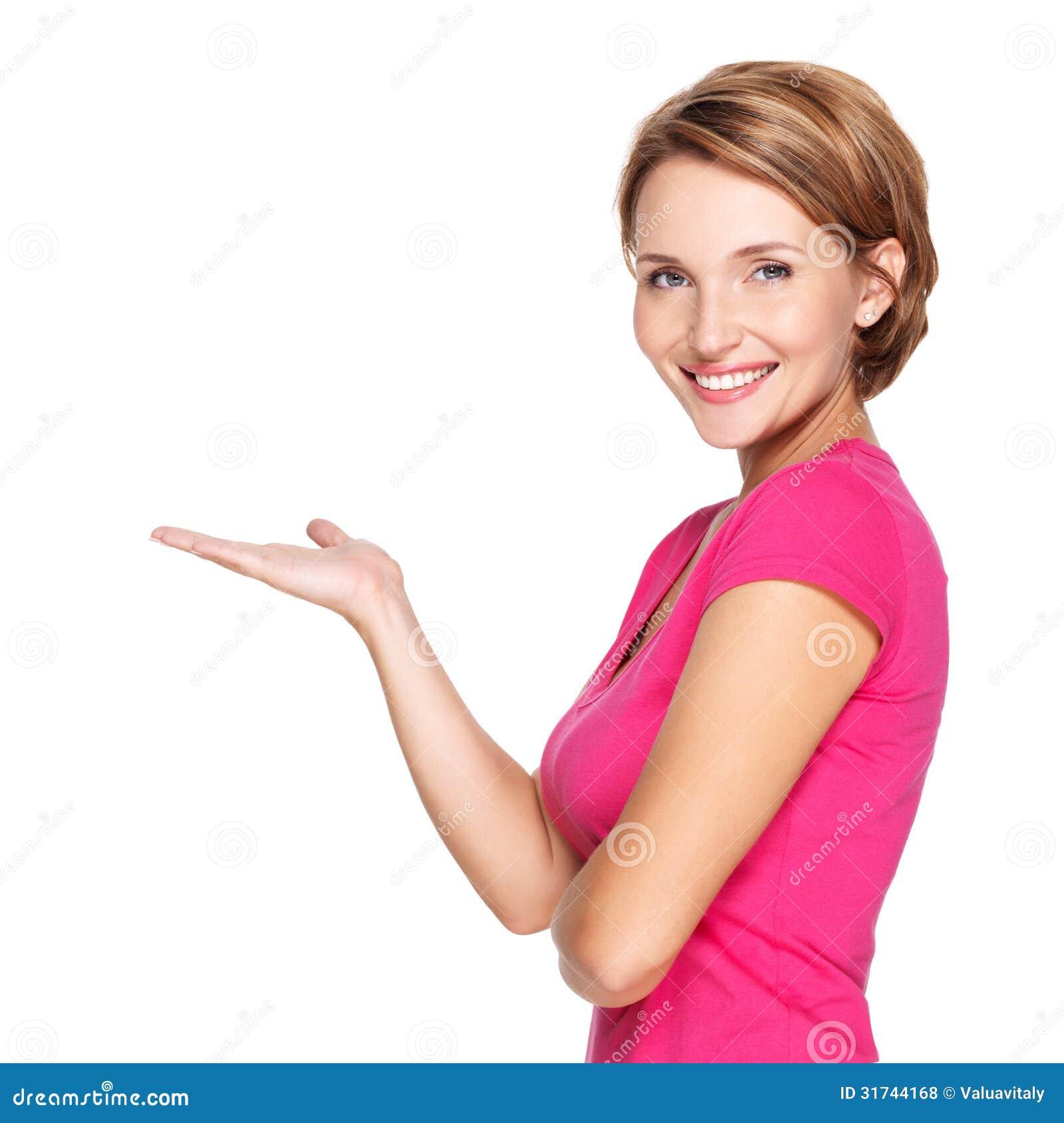 成人愉快的妇女画象有介绍姿态的