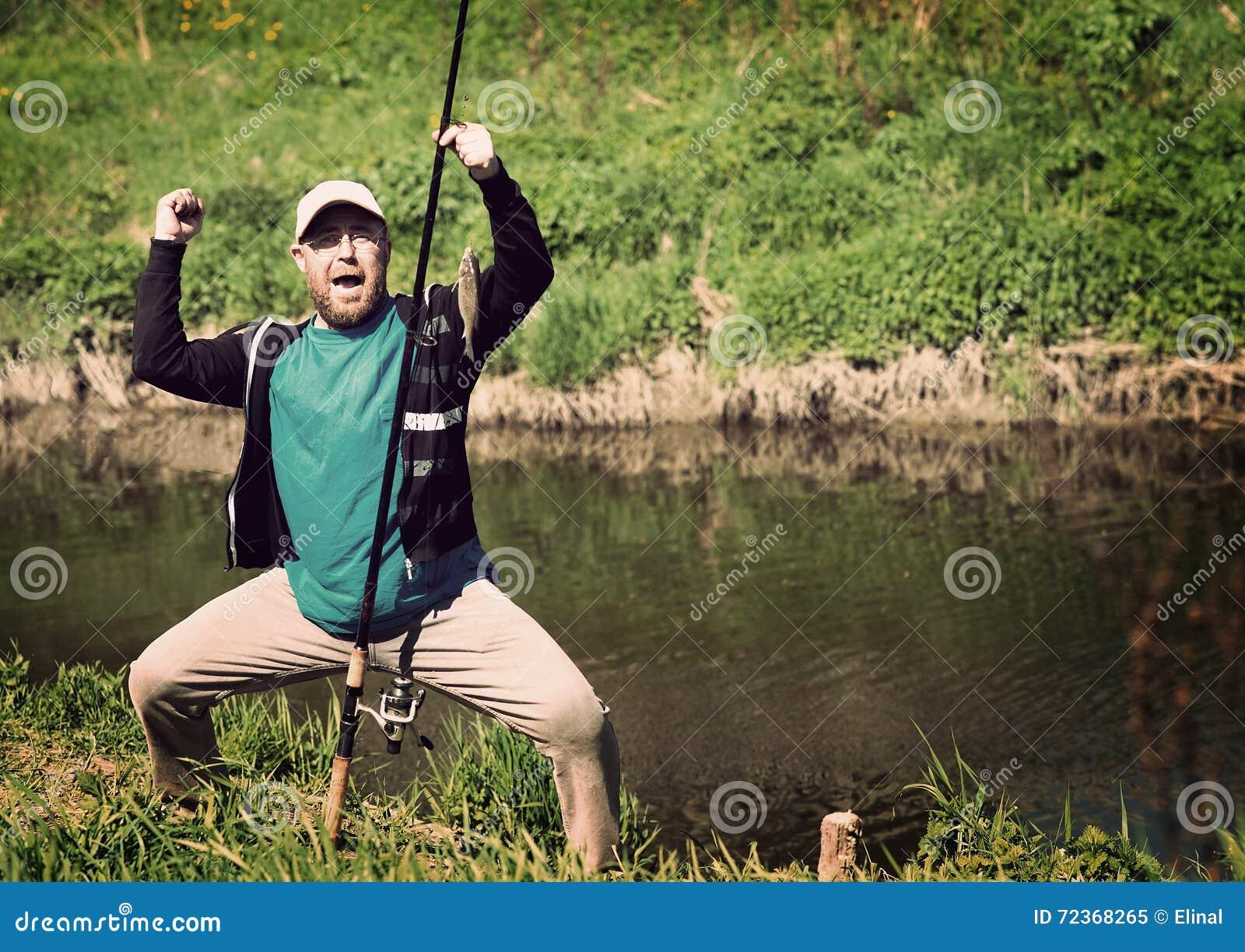 成功渔,有钓鱼竿的人 滑稽,乐趣