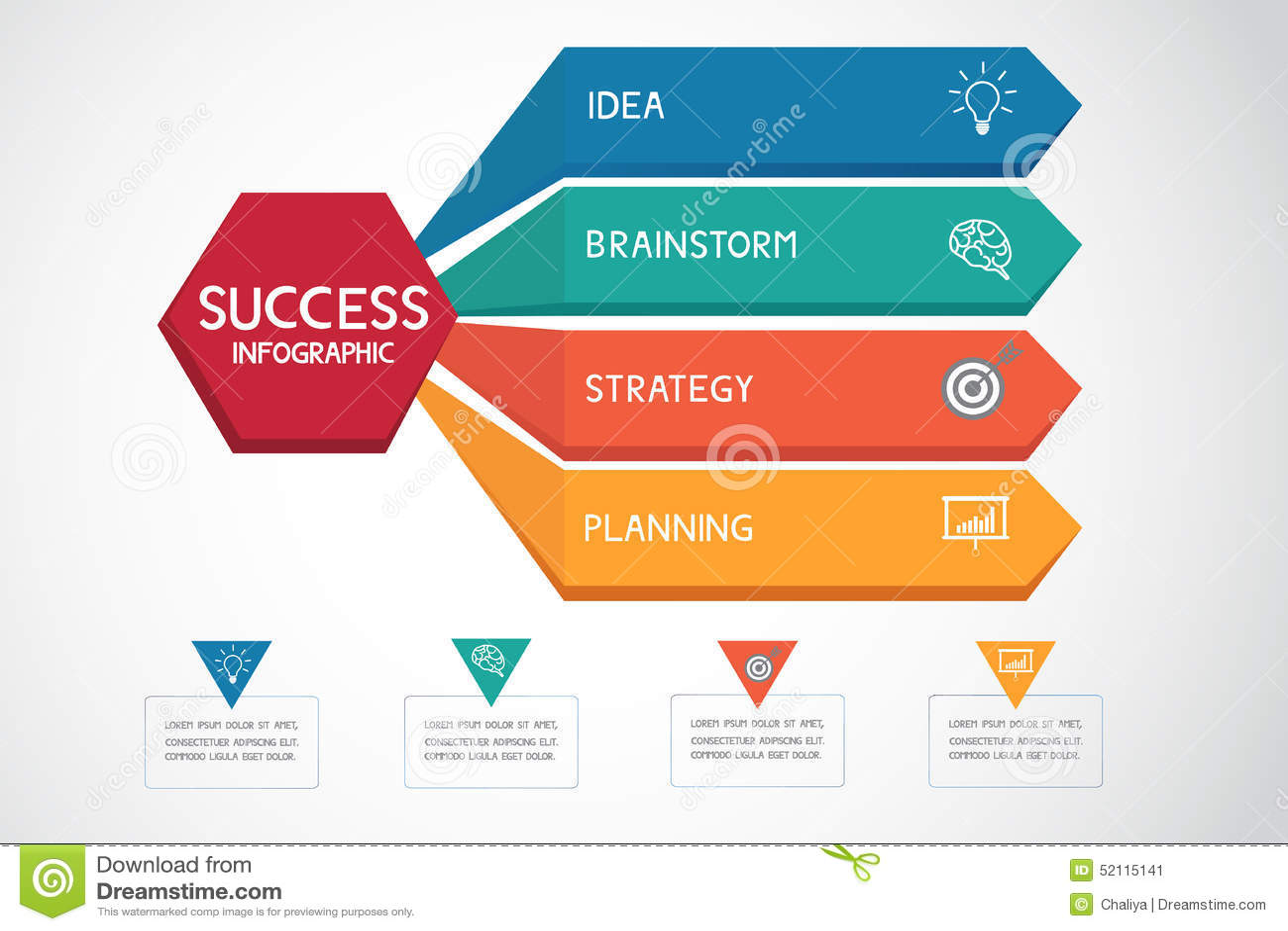 成功的企业概念infographic模板 能为工作流布局,图网络设计, infographics使用