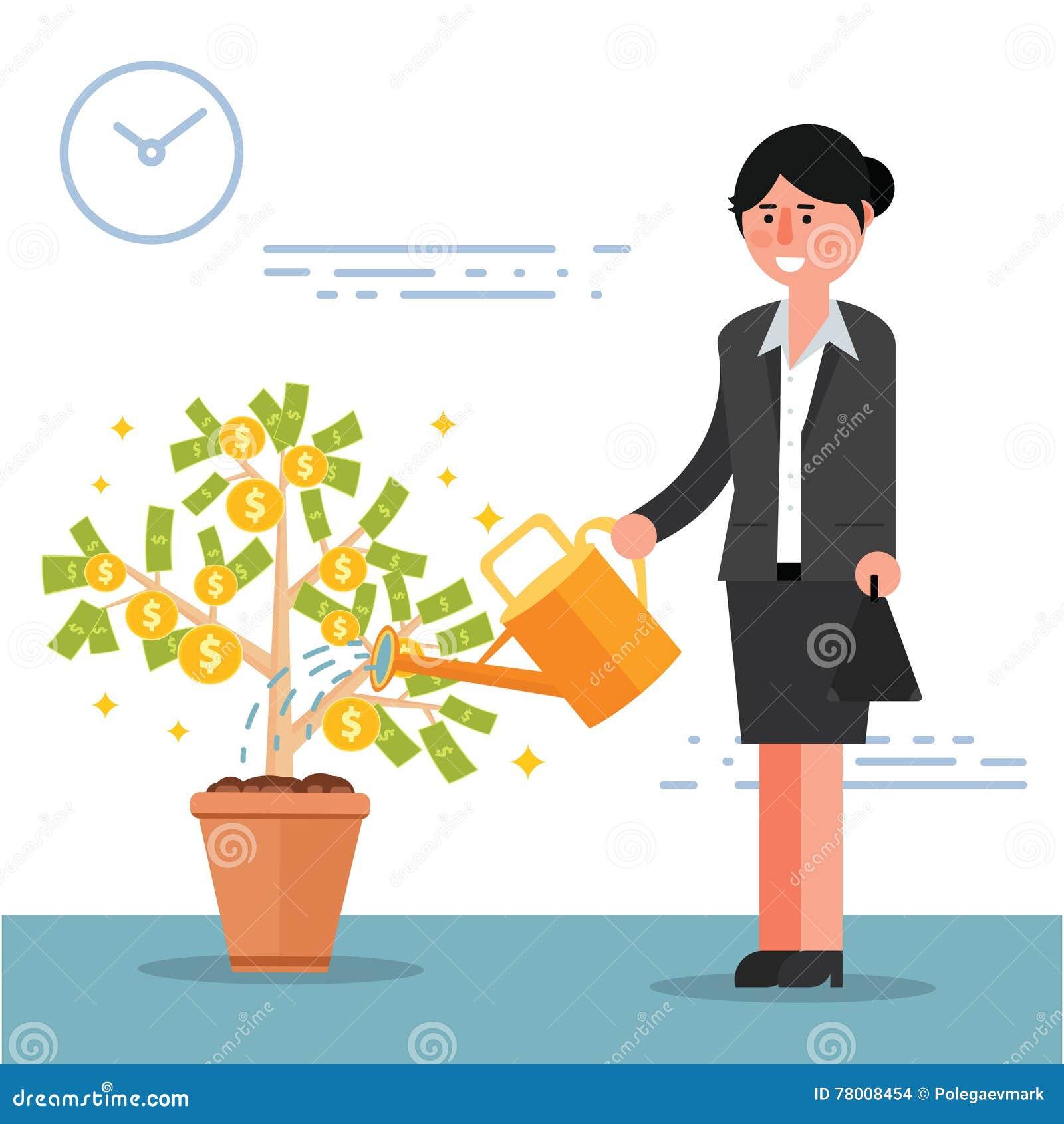 成功的年轻女实业家或经纪浇灌的金钱树 加州