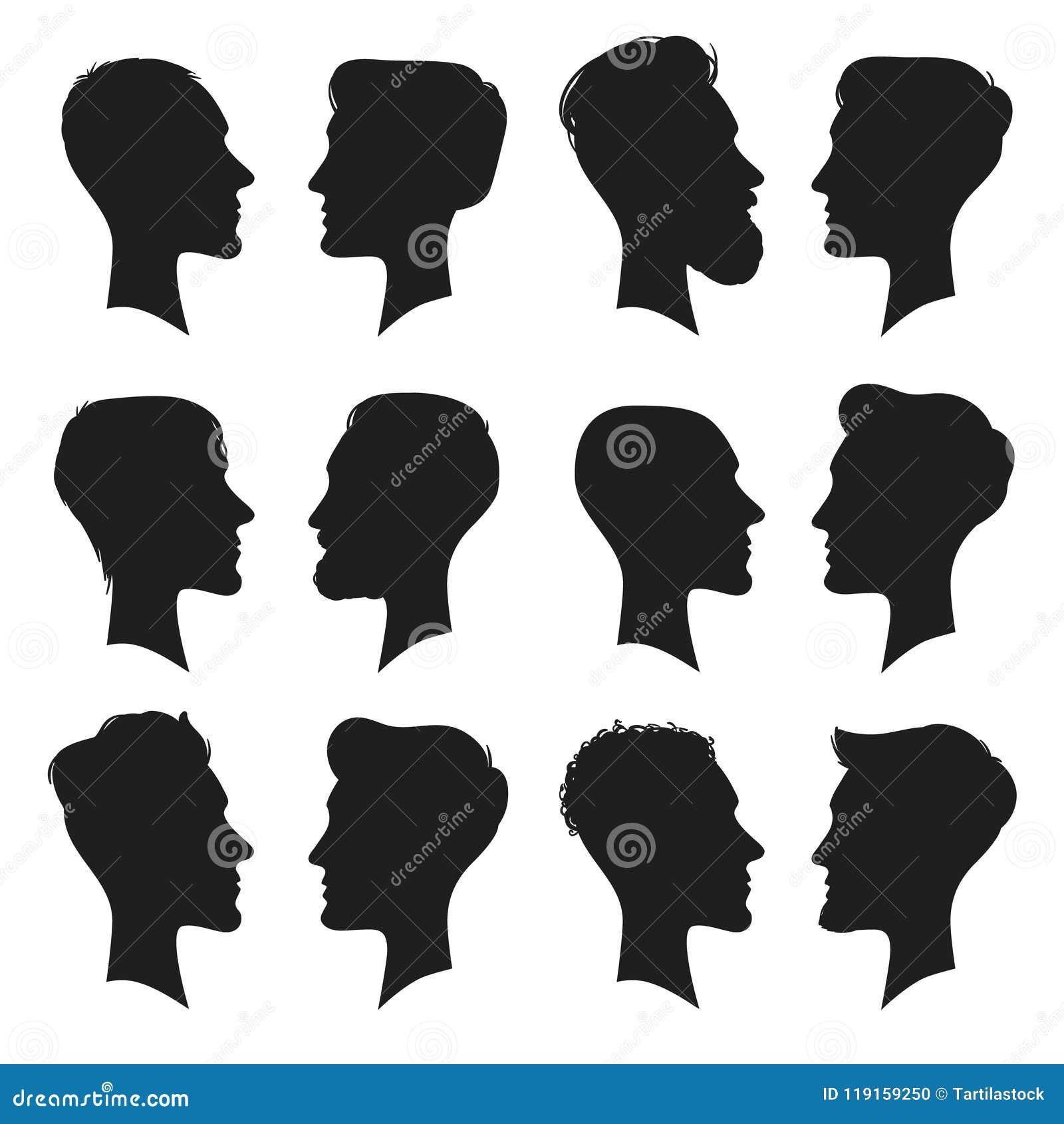 成年男性头外形剪影 人象 塑造人理发或无毛的人头剪影被隔绝的传染媒介