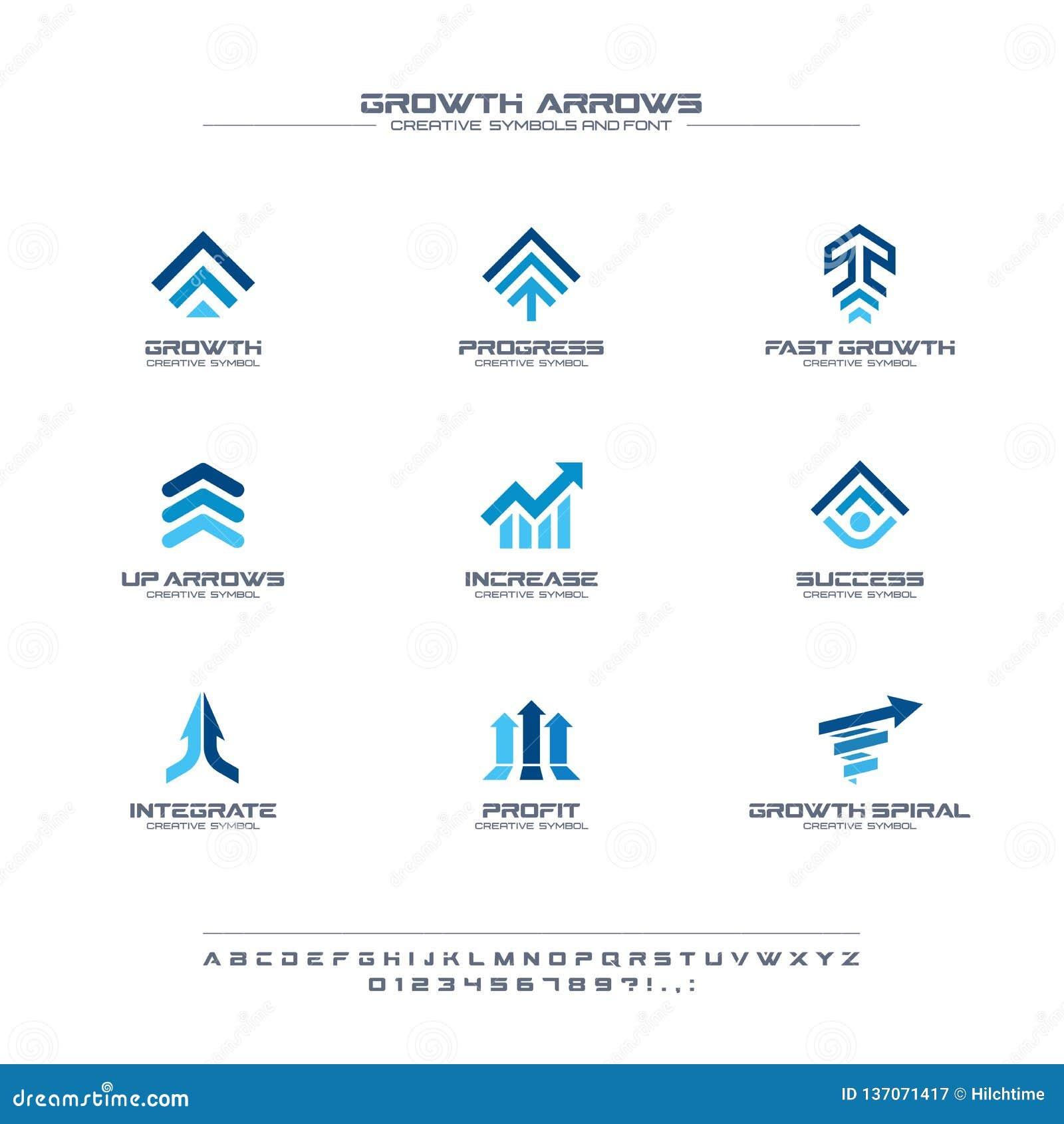成长箭头创造性的符号集,字体概念 财务赢利,银行,股票市场摘要企业商标 增量