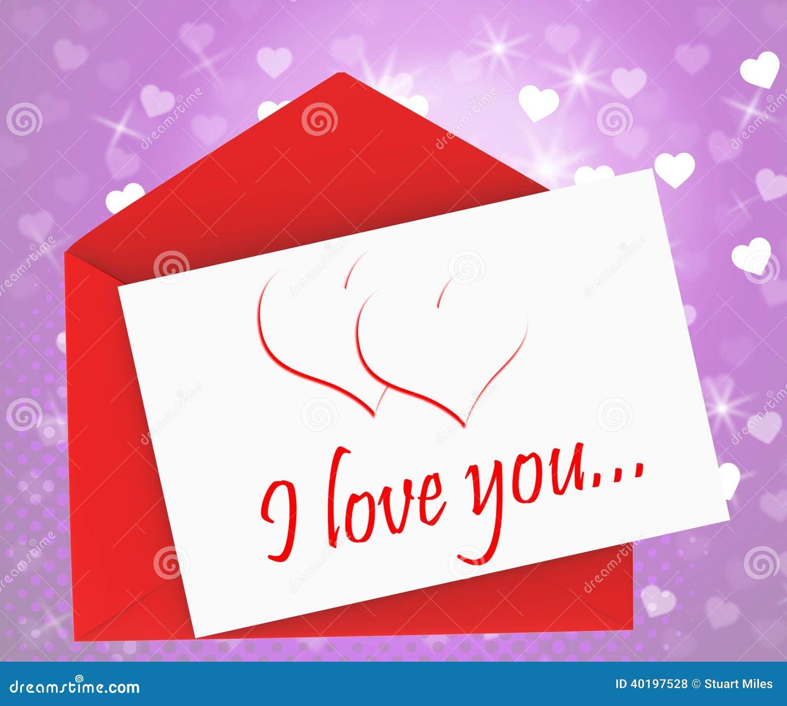 我爱你在信封意思华伦泰卡片或浪漫信件.