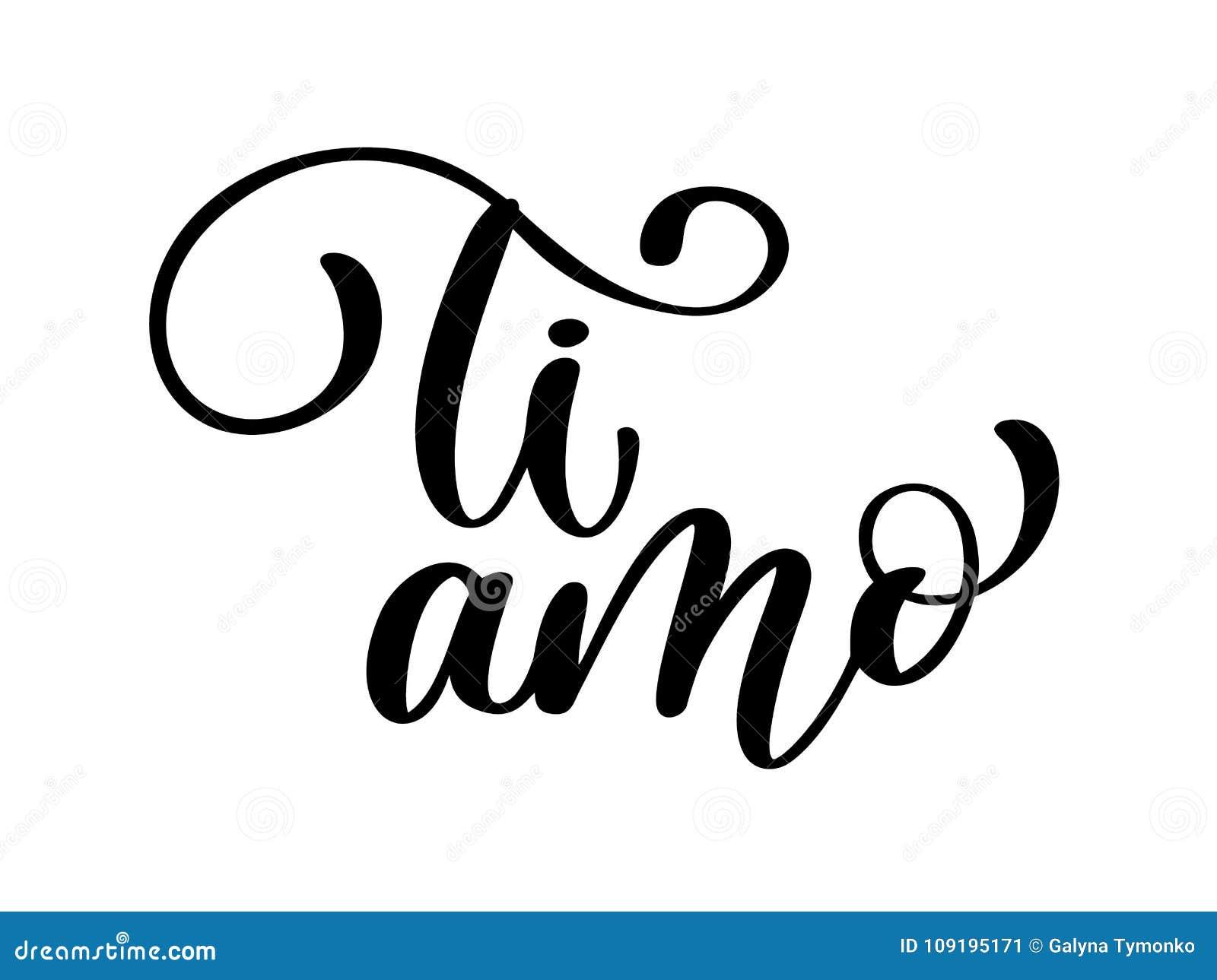 我爱你用意大利语 钛amo明信片 措辞在情人节 墨水例证 现代刷子书法 查出