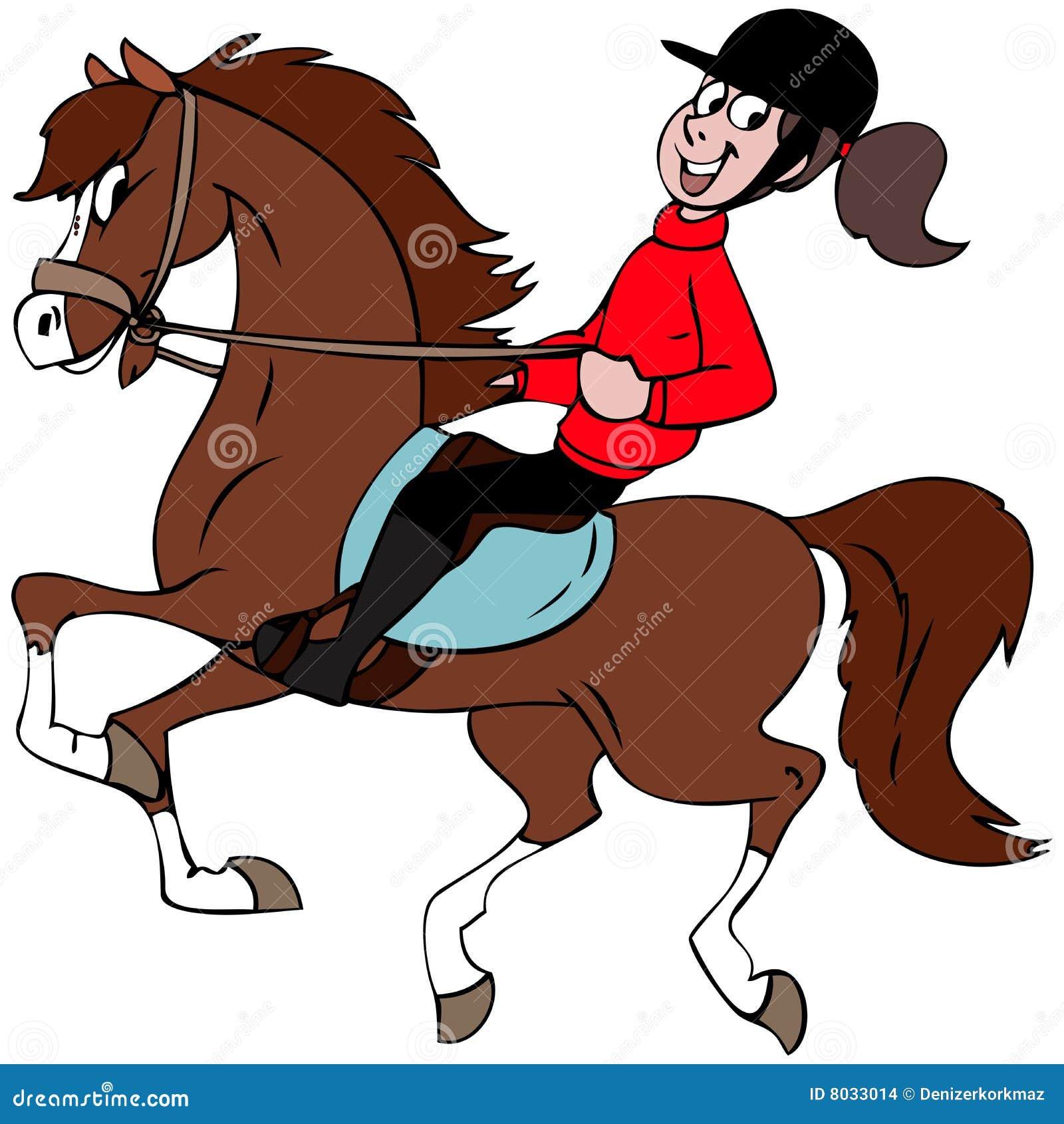 动画片女孩她的马例证骑马.图片