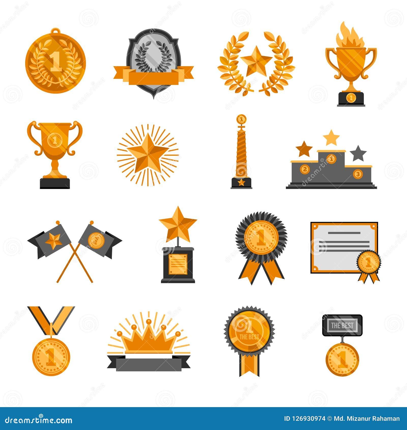 战利品奖牌徽章冠星荣誉冠军优胜者成功奖象设置了惊人的传染媒介例证