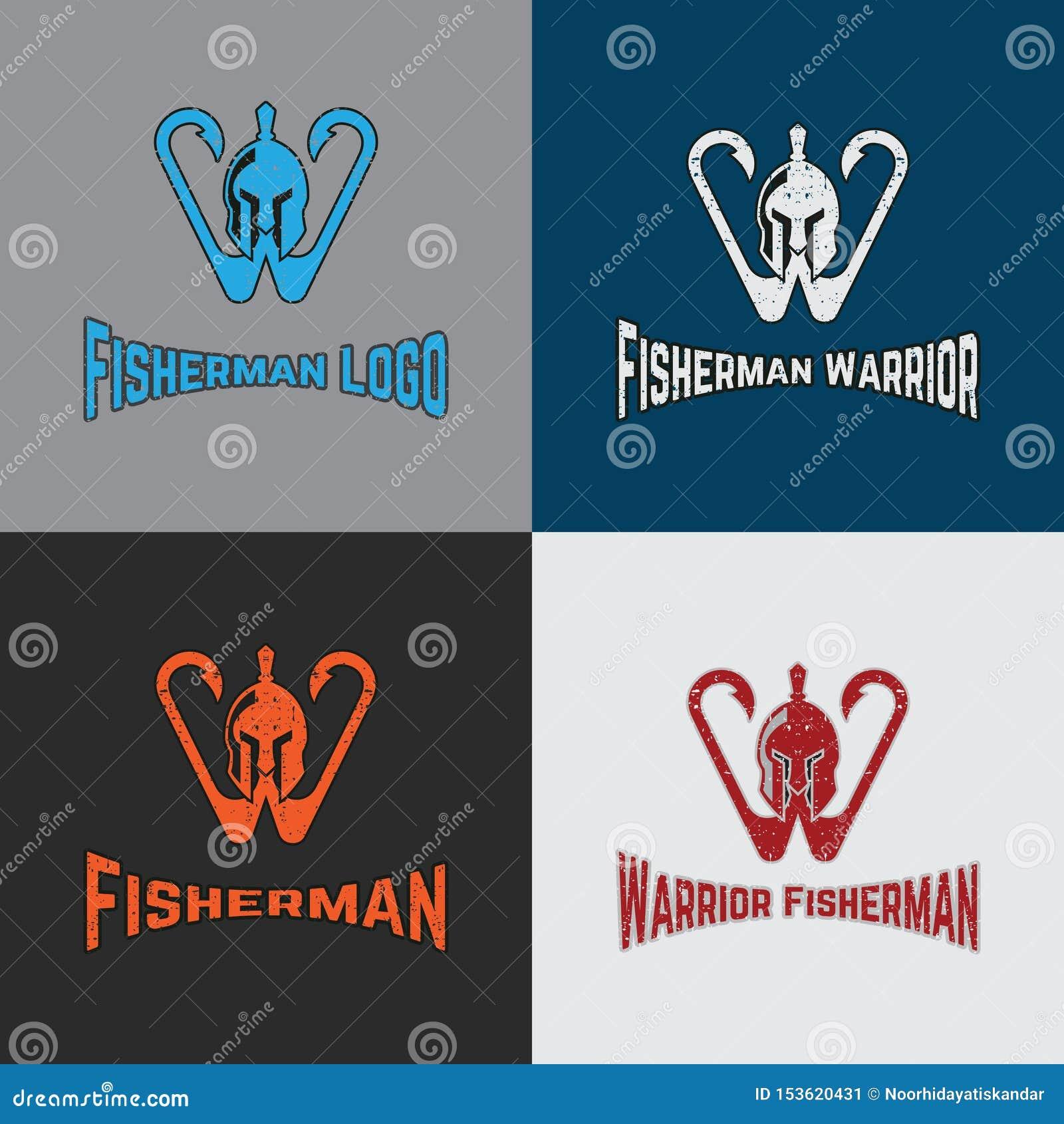 战士渔夫与战士和勾子的商标模板