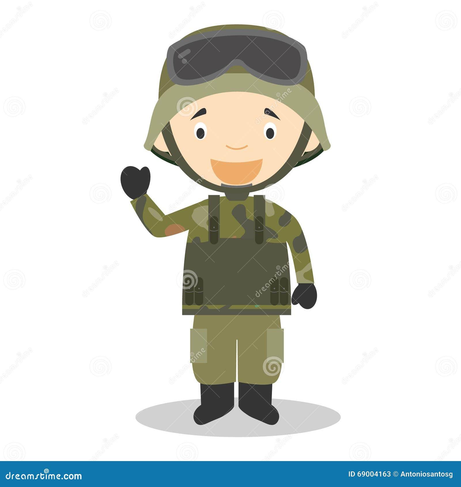 战士的逗人喜爱的动画片传染媒介例证