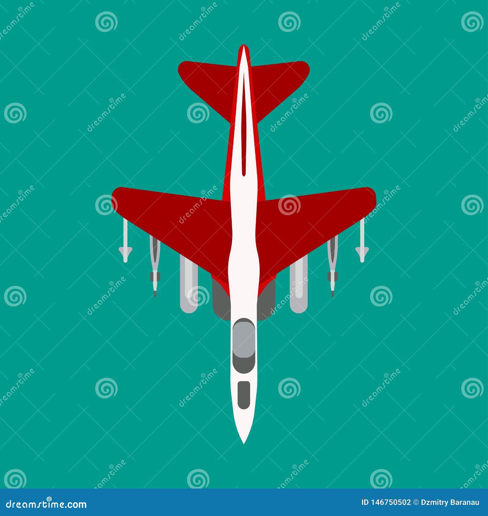 战斗机传染媒介平的象顶视图 攻击喷气机航空炸弹运输 图表剪影作战力量防御