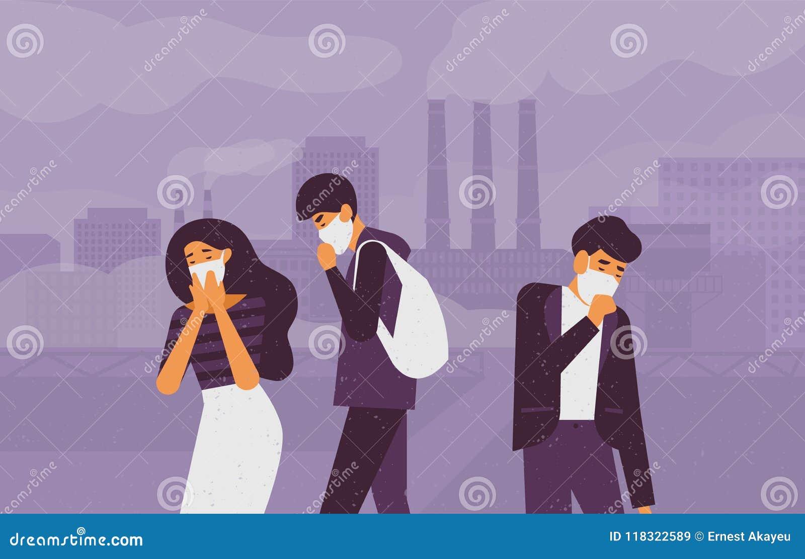 戴着防护面罩的哀伤的人民走在街道上反对工厂用管道输送散发在背景的抽烟 美好的尘土