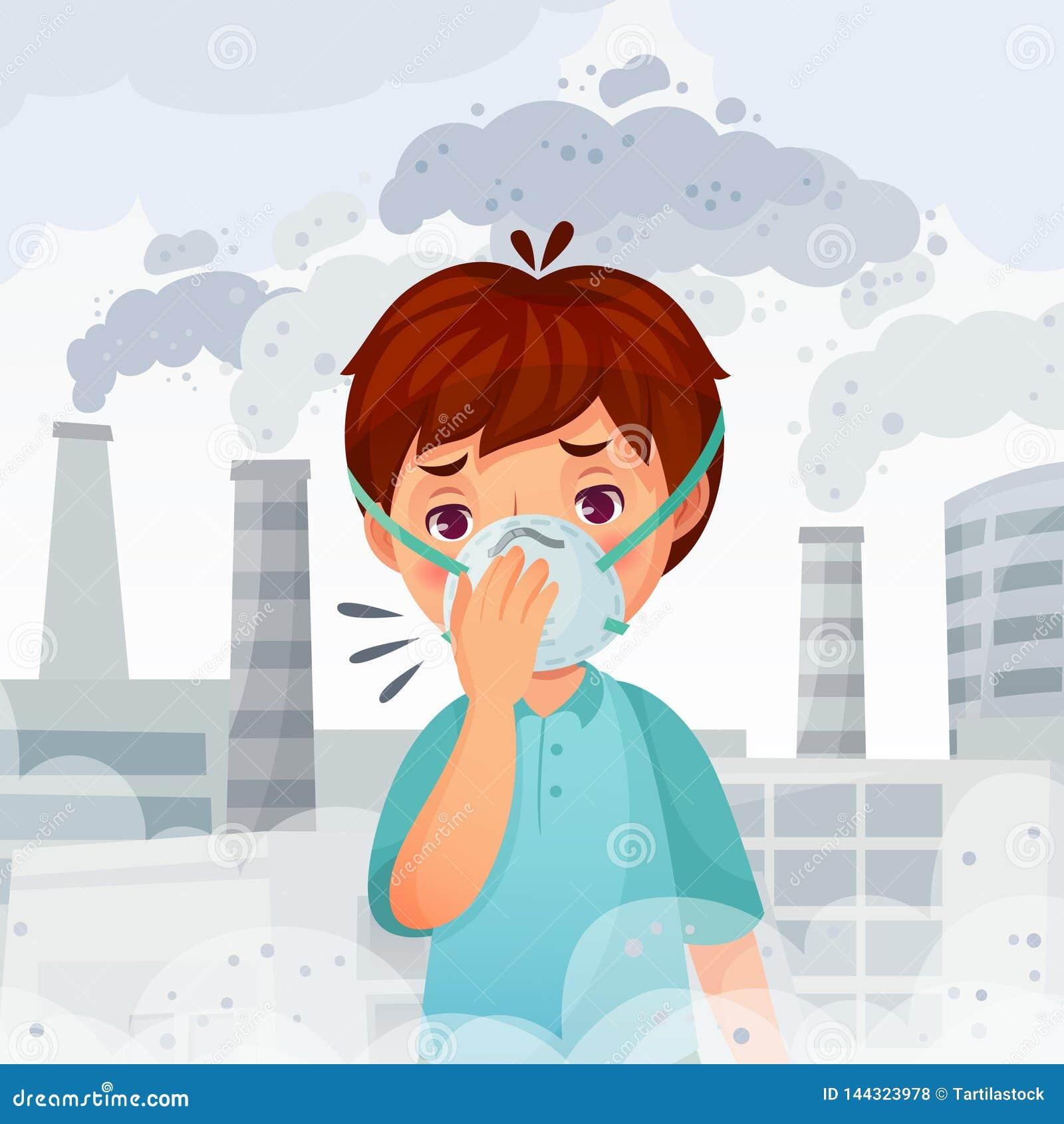 戴着N95面具的男孩 尘土PM 2 5空气污染、年轻人呼吸保护和安全面膜动画片传染媒介