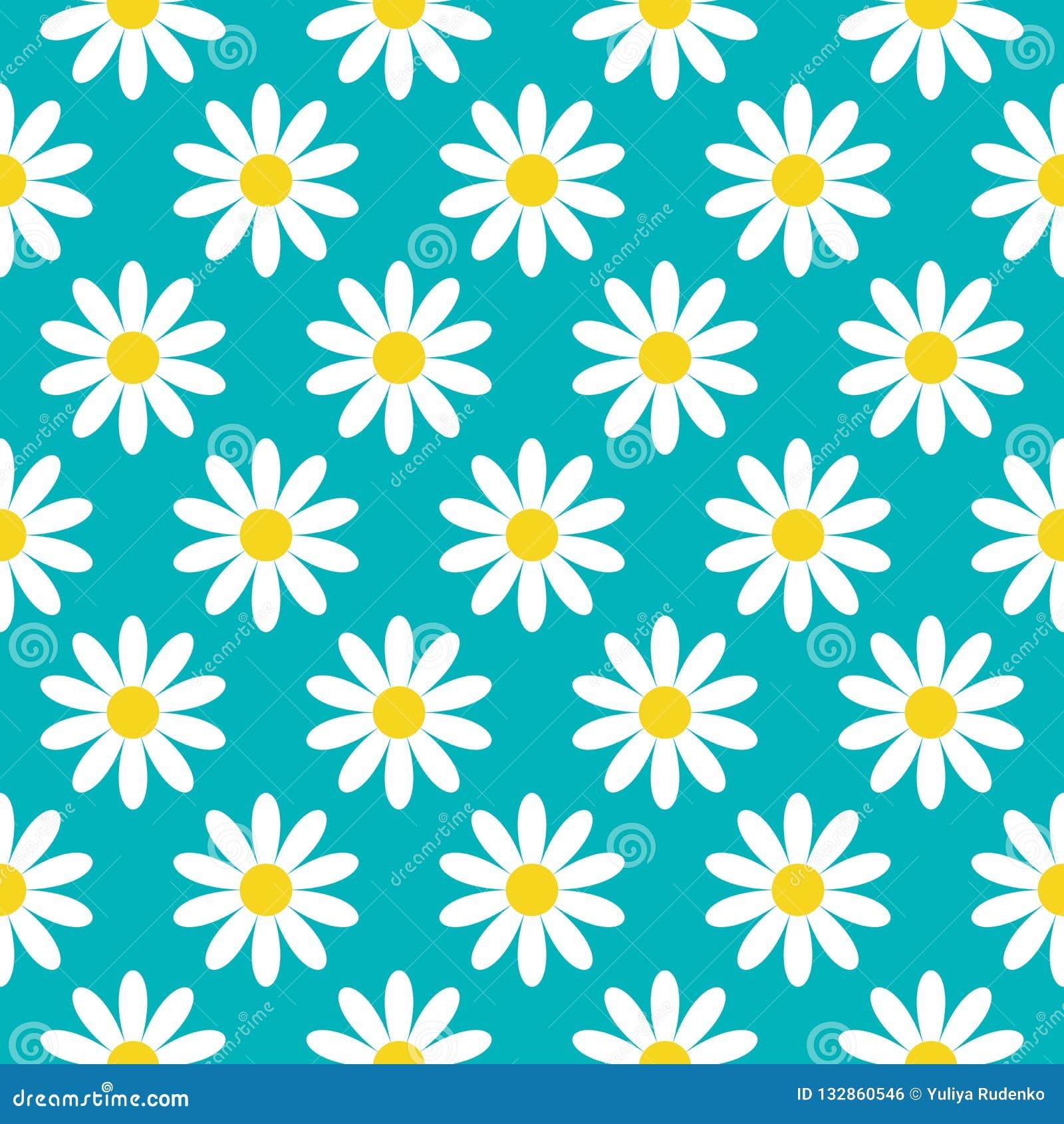 戴西春黄菊象 逗人喜爱的花植物收藏 概念生长 无缝的样式包装纸,纺织品
