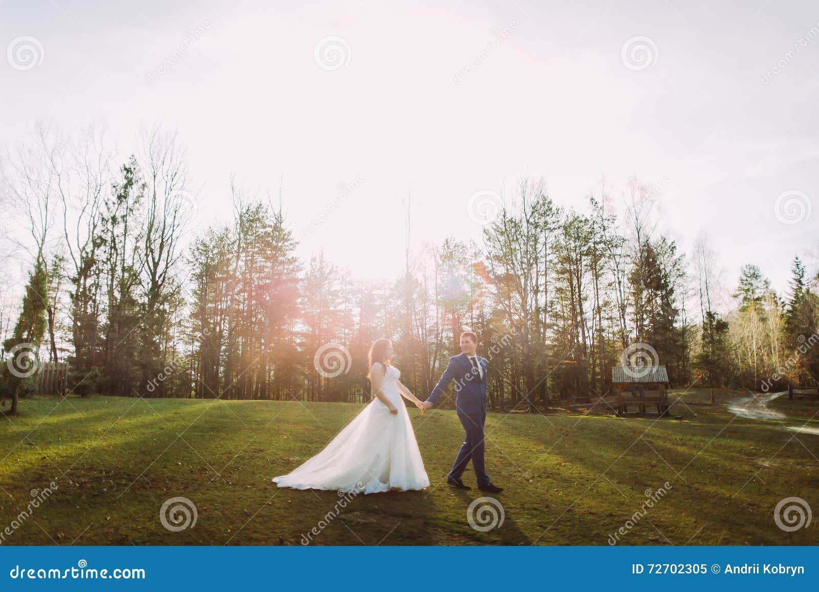 户外浪漫婚礼夫妇 走在绿草的新娘和新郎 在背景的明亮的太阳