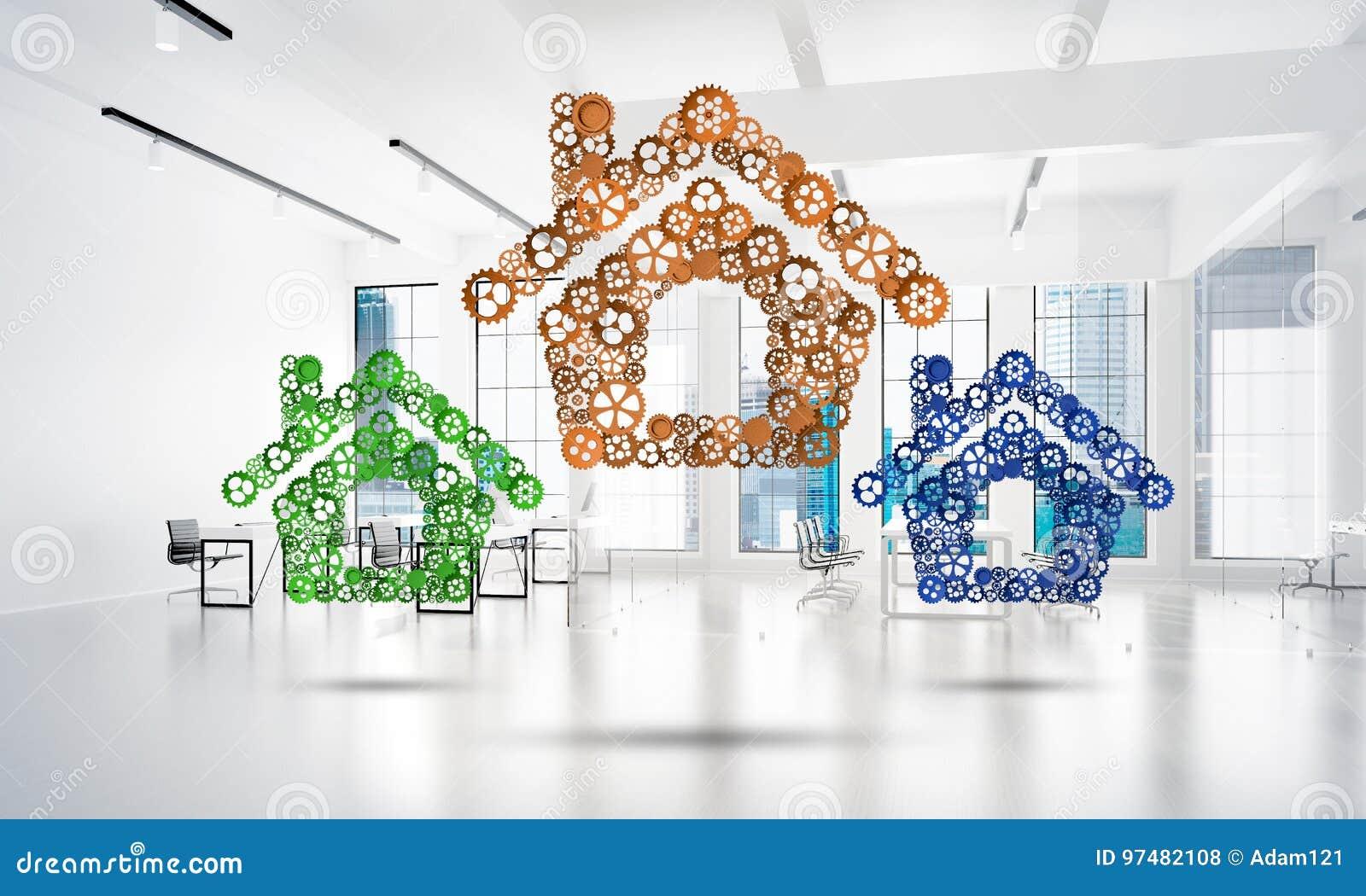 房地产或建筑想法由在白色办公室背景的家庭象提出了