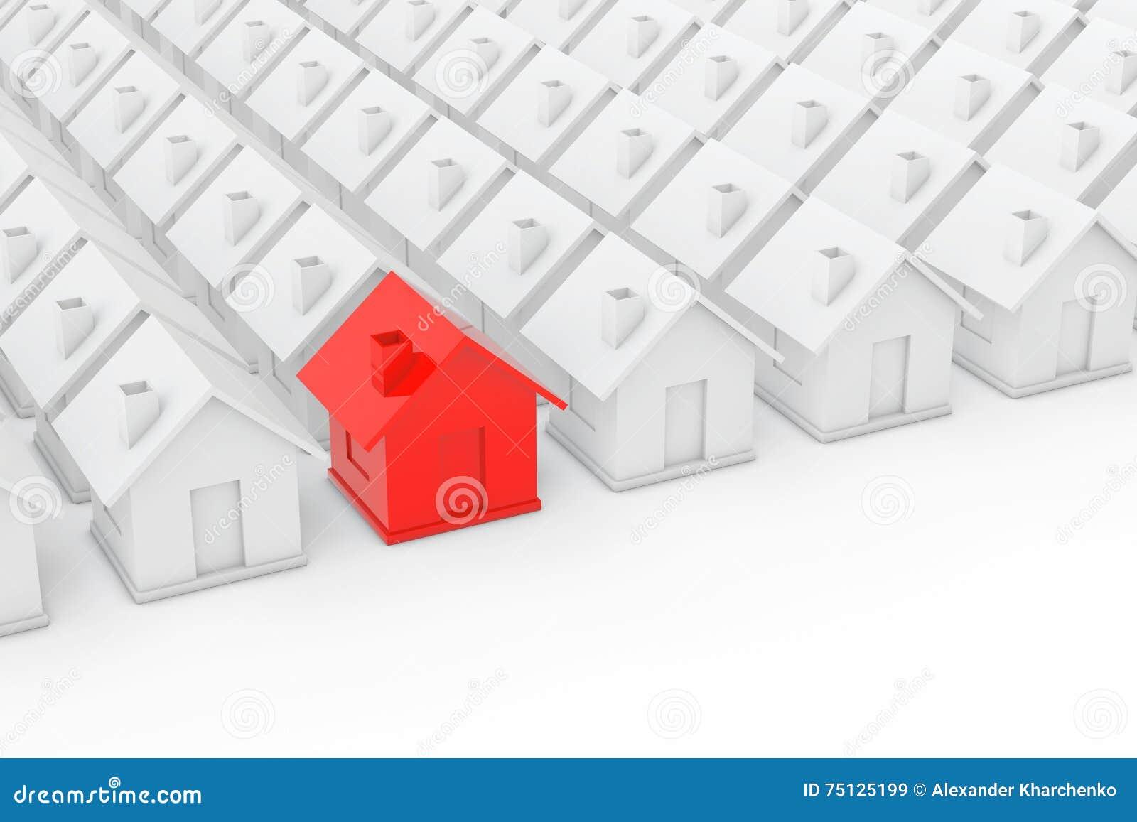 房地产房地产业概念 红色房子在白色中