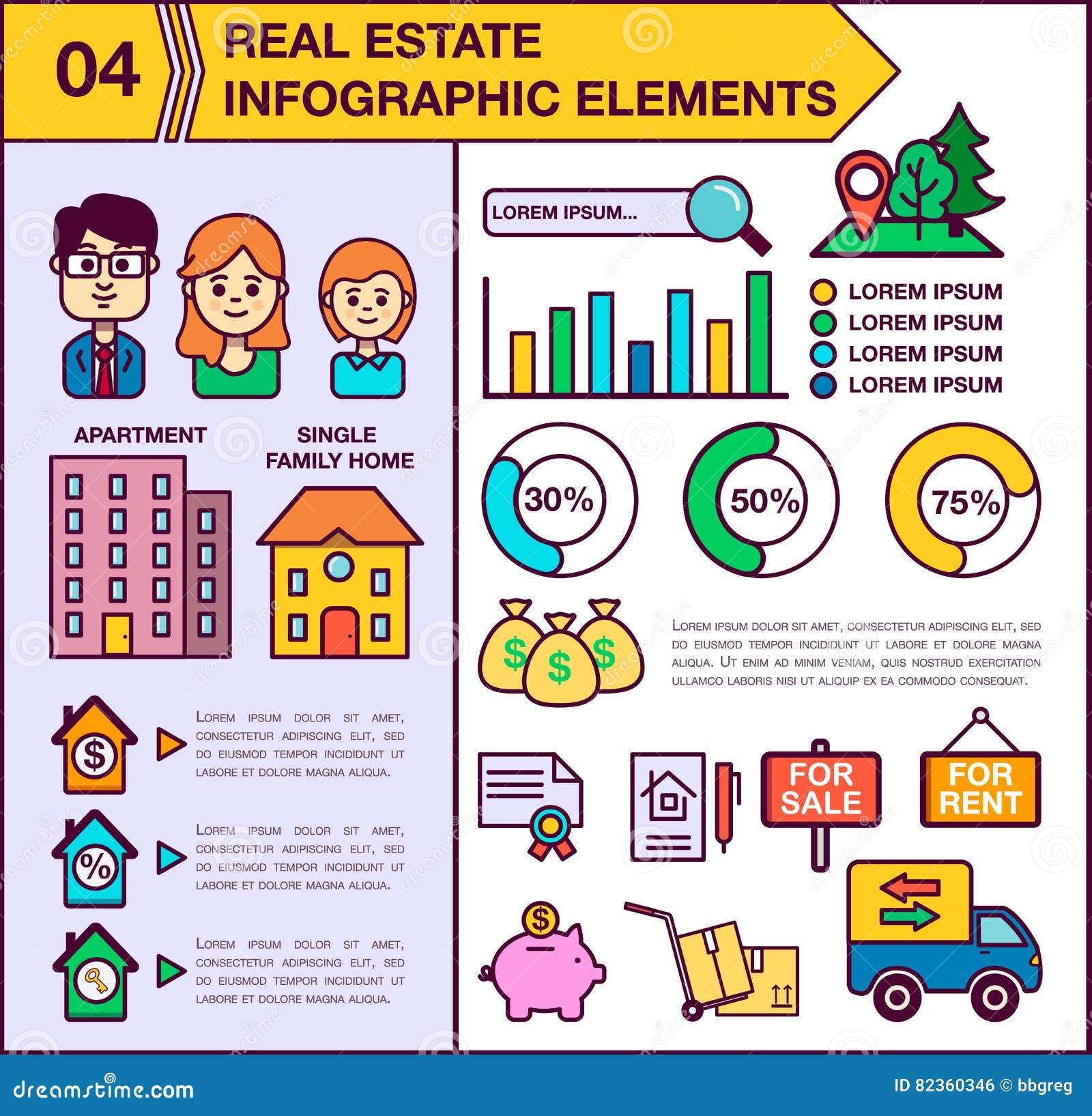 房地产infographic模板和元素 模板包括男人、妇女和孩子的例证 现代