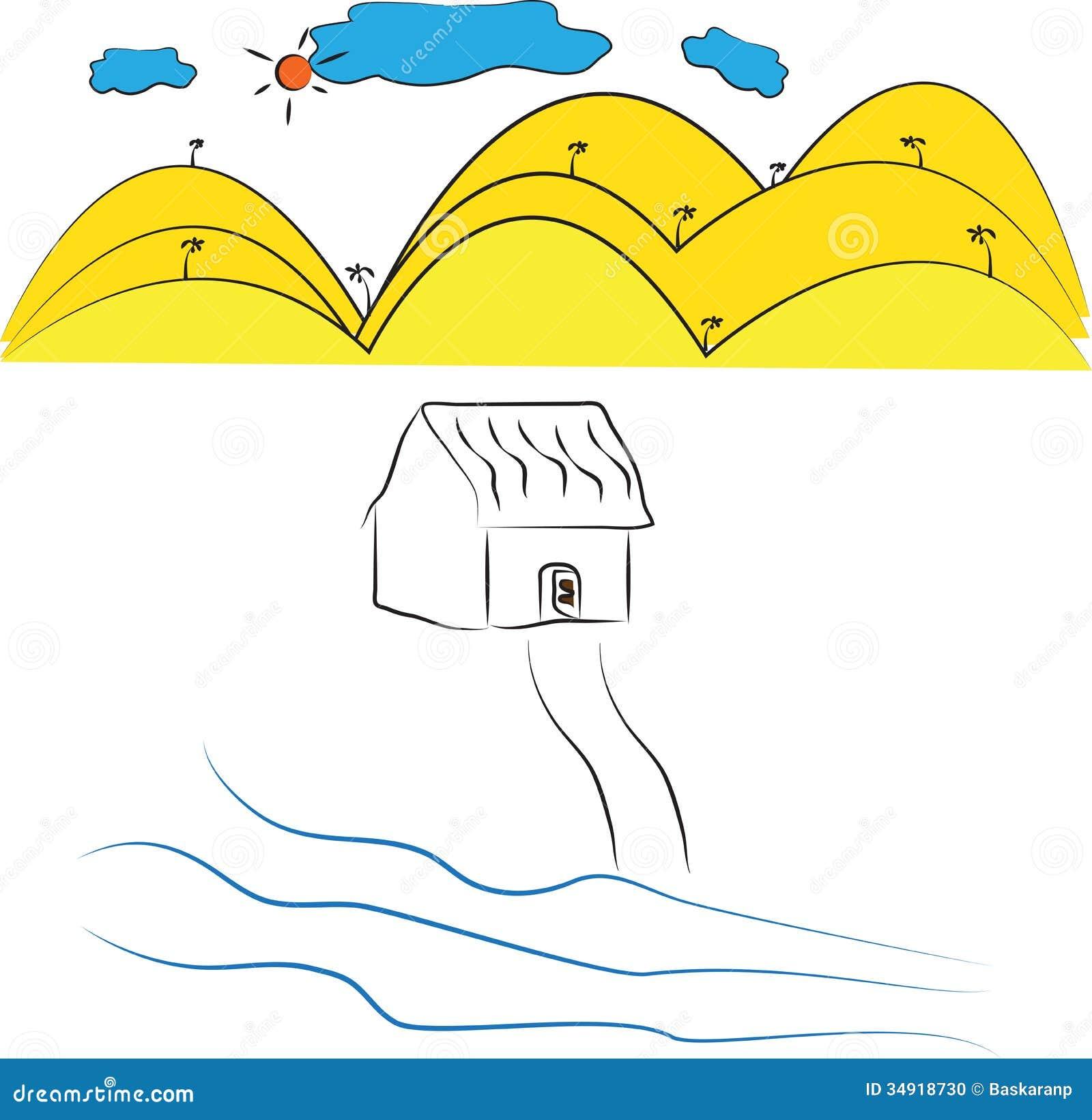 房子简单的图画有自然场面的.图片