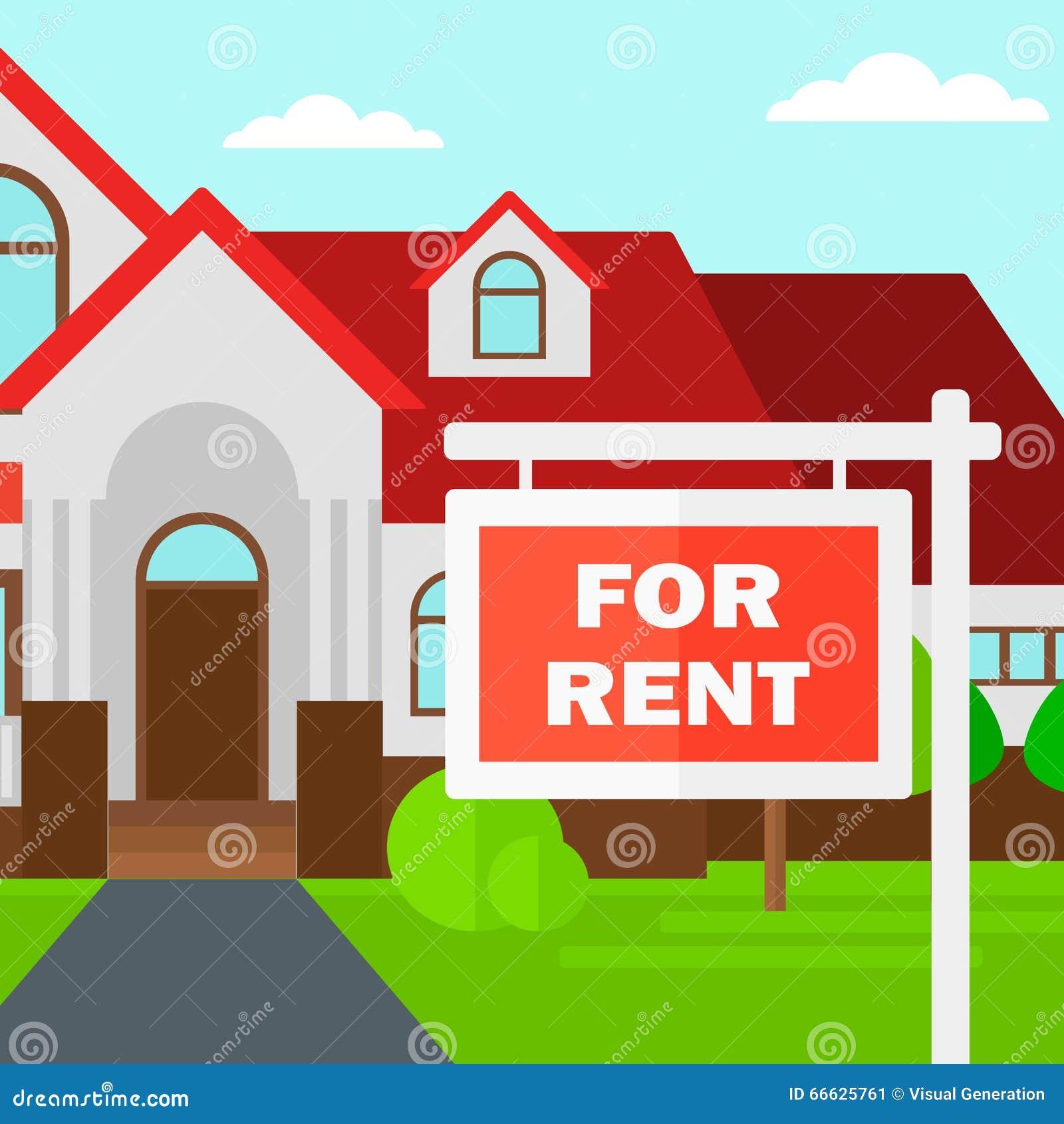 房子背景有租房地产标志的 向量例证. 插画 包括有 居住, 格式, 拱道, 路径, 聘用, 设计, 动画片
