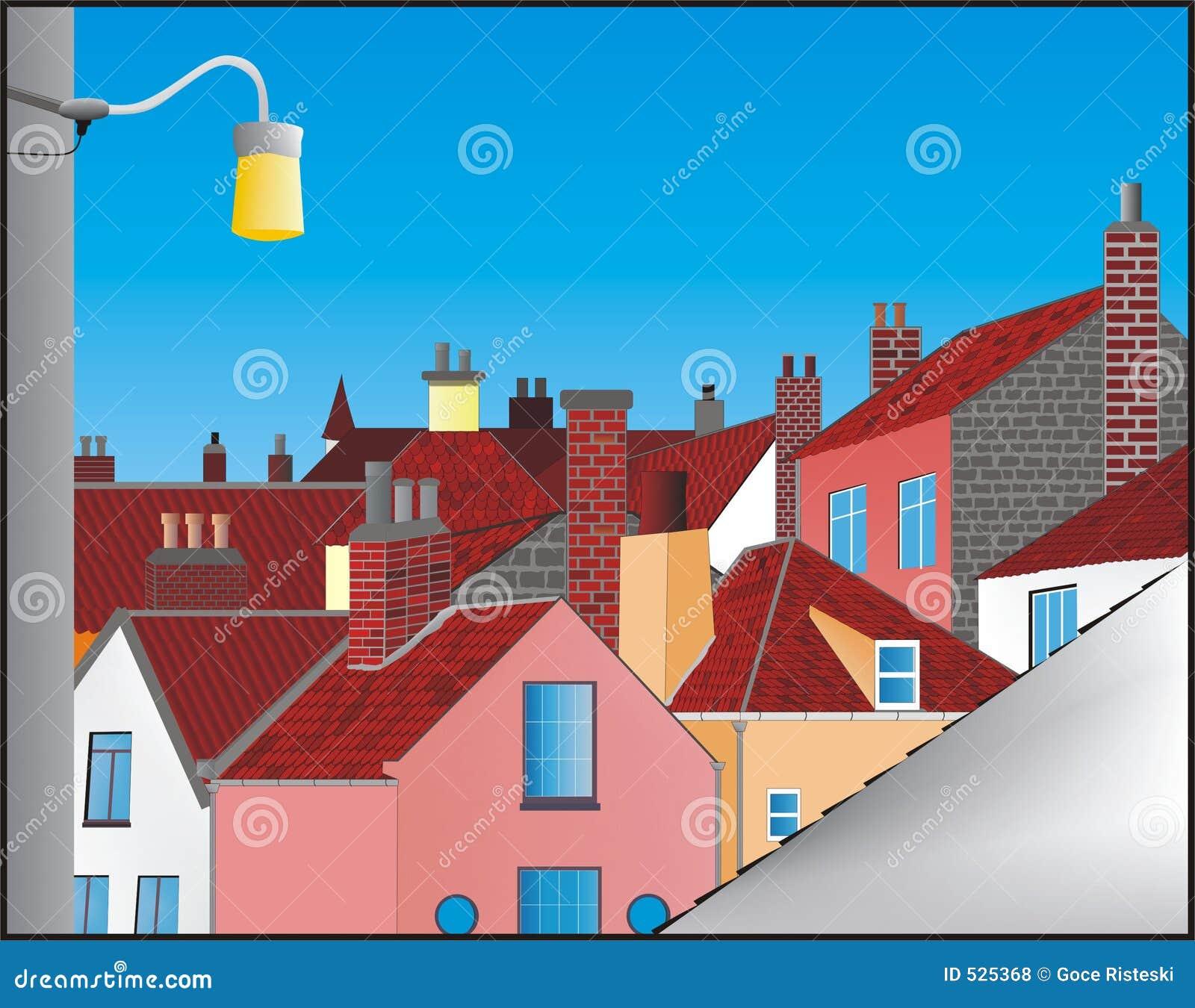 Download 房子 库存例证. 插画 包括有 鸣响的, 拱道, 房子, 布琼布拉, 流感, 村庄, 视窗, 屋顶, 颜色, 城市 - 525368