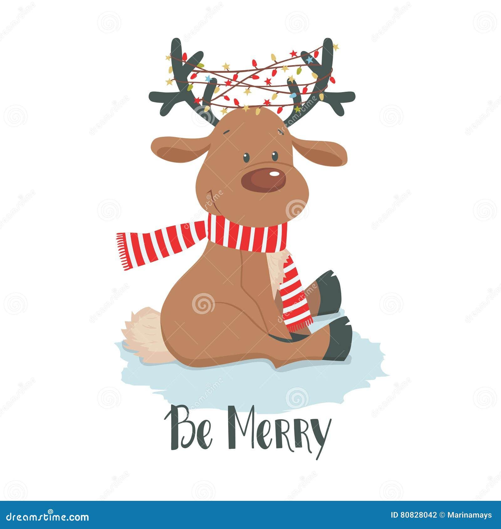 所有所有圣诞节鹿要素例证各自的对象称范围纹理导航 在白色背景的逗人喜爱的驯鹿