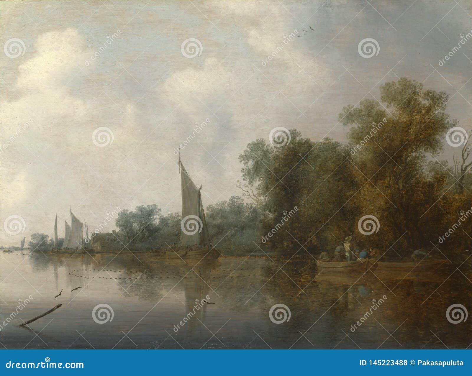 所罗门van Ruysdael -有画网的渔夫的一条河