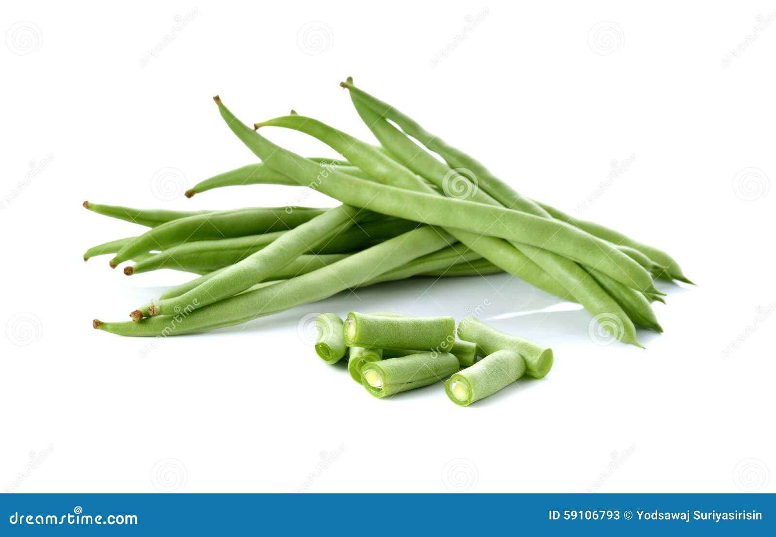 扁豆堆在白色的