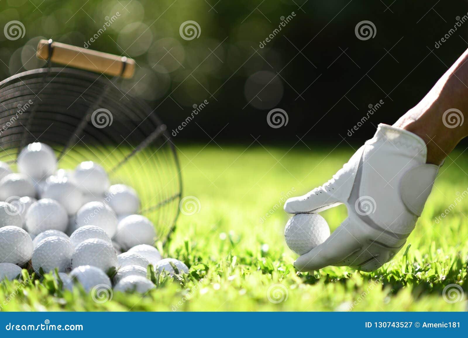 手举行与发球区域的高尔夫球在实践的绿草
