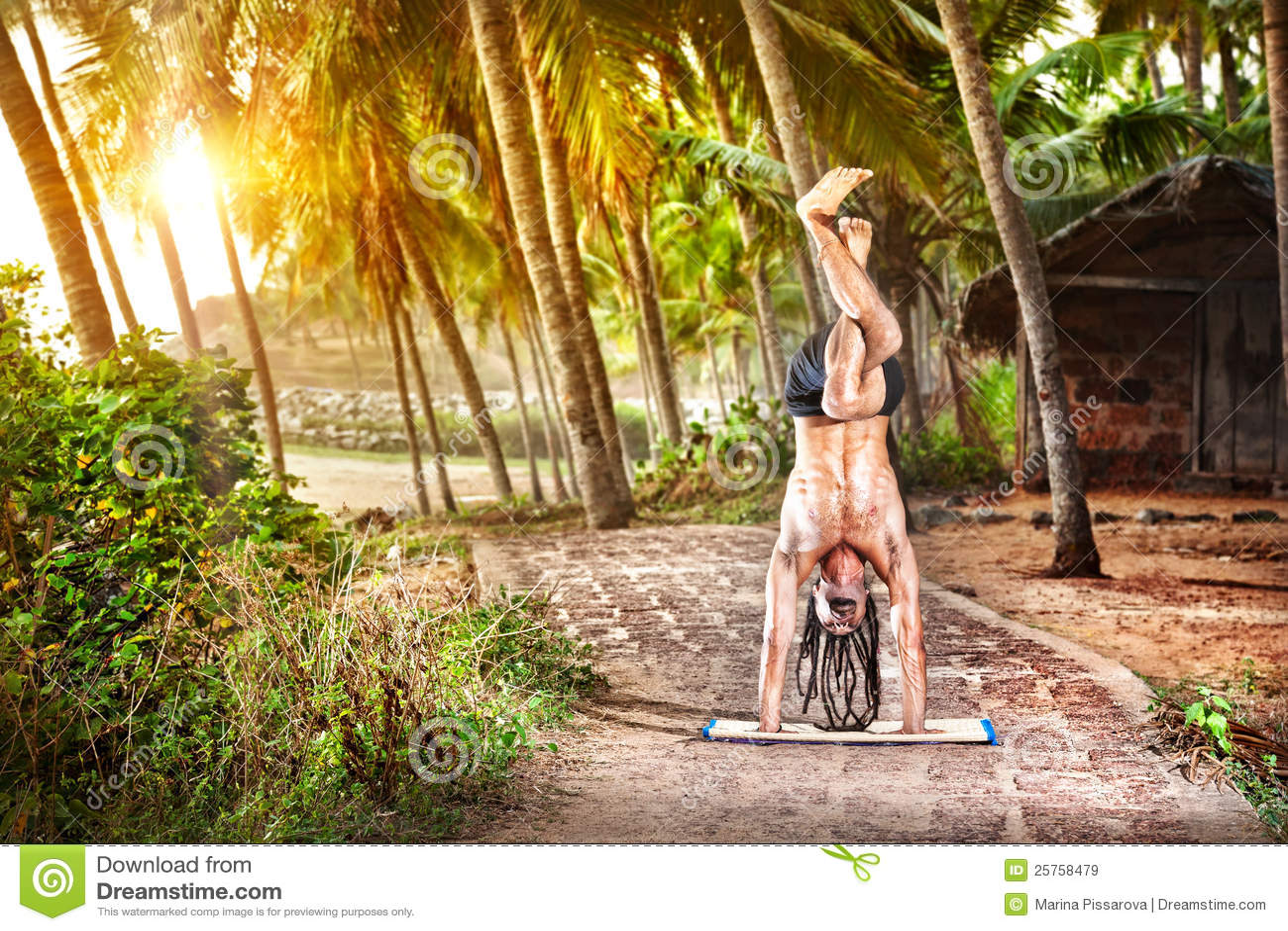 手倒立姿势日落瑜伽
