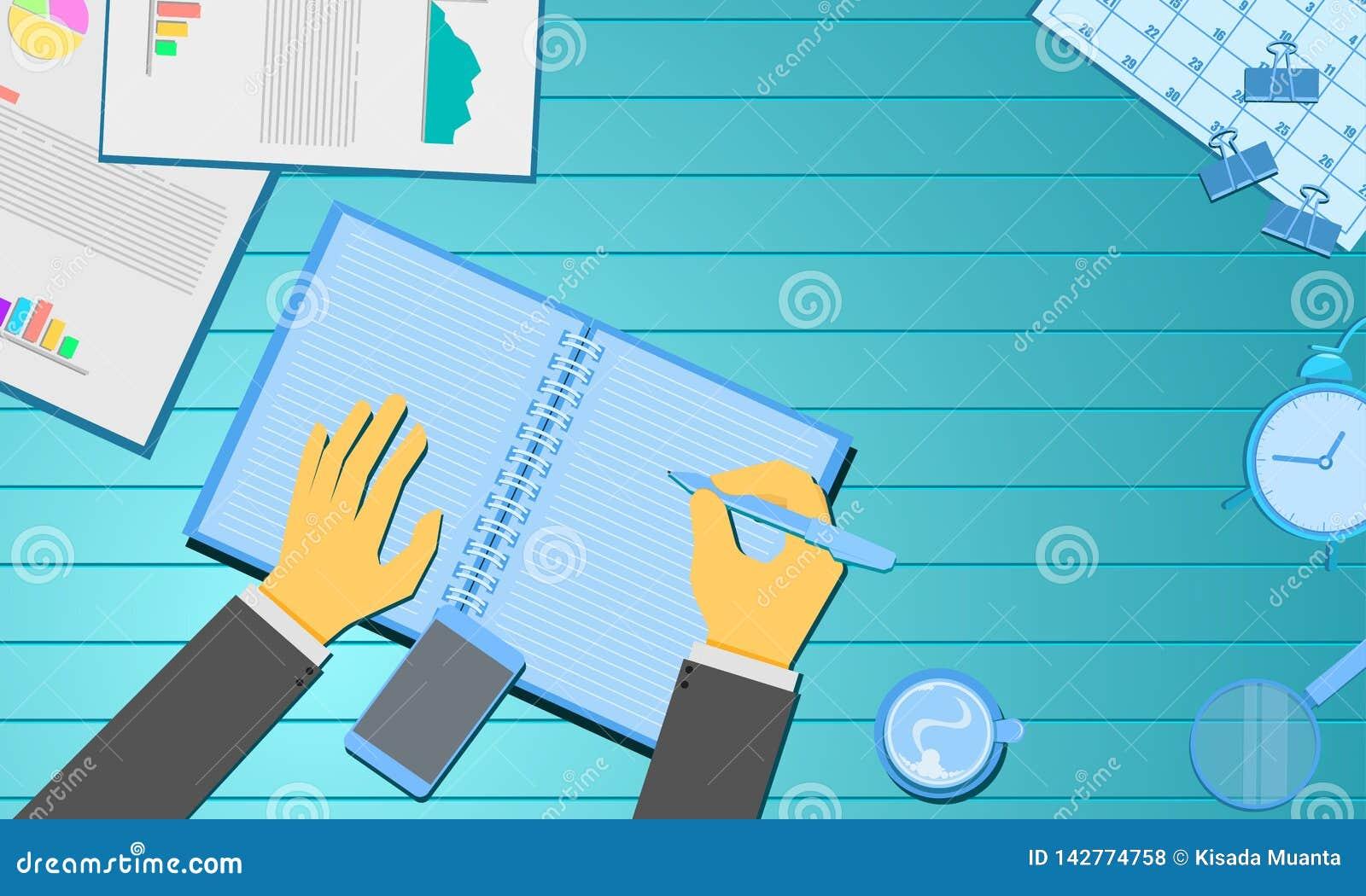 手写信纸信息和咖啡图报告日历 企业营销概念 木蓝绿色背景传染媒介