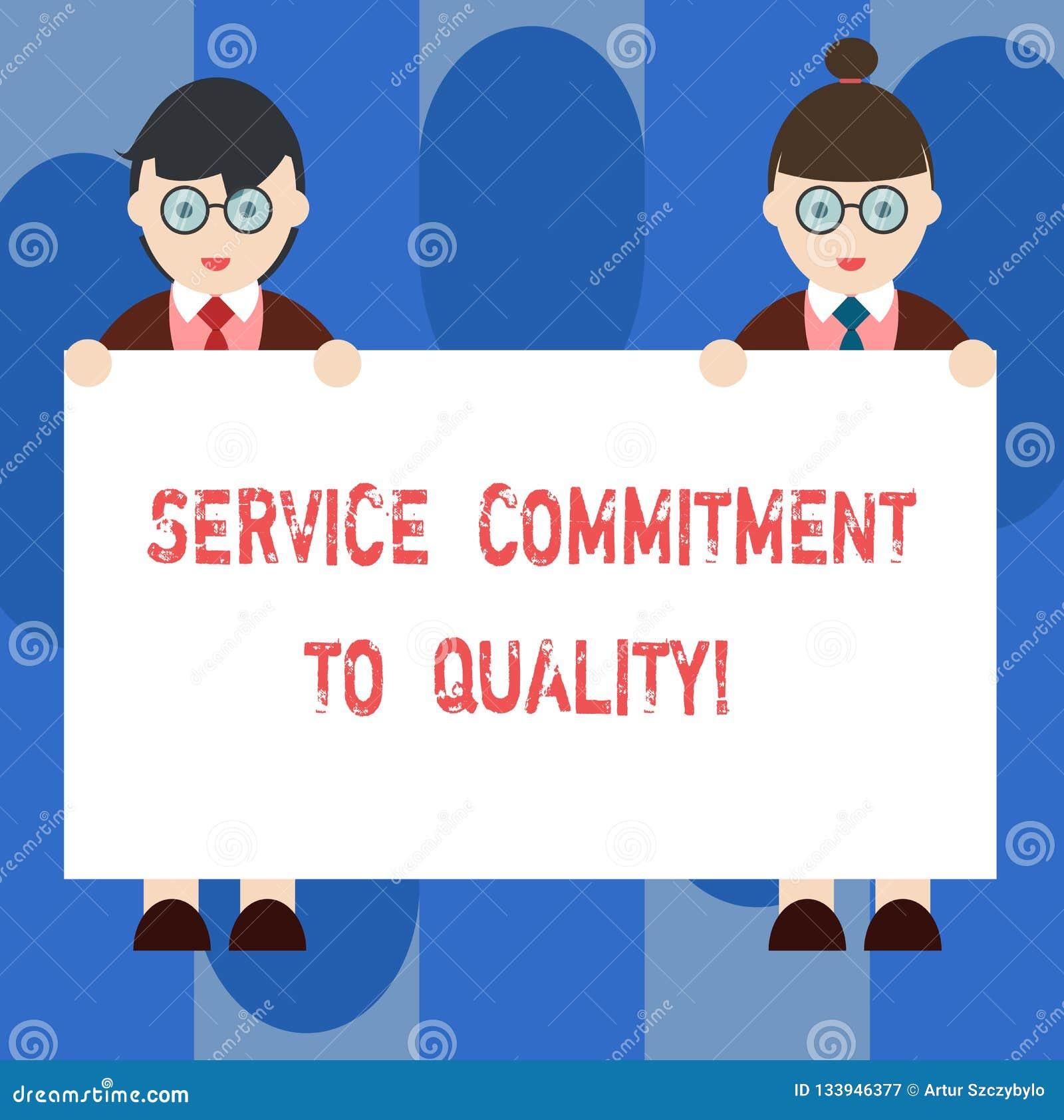 手写文本对质量的服务承诺 概念意思优秀优质好协助男性和女性