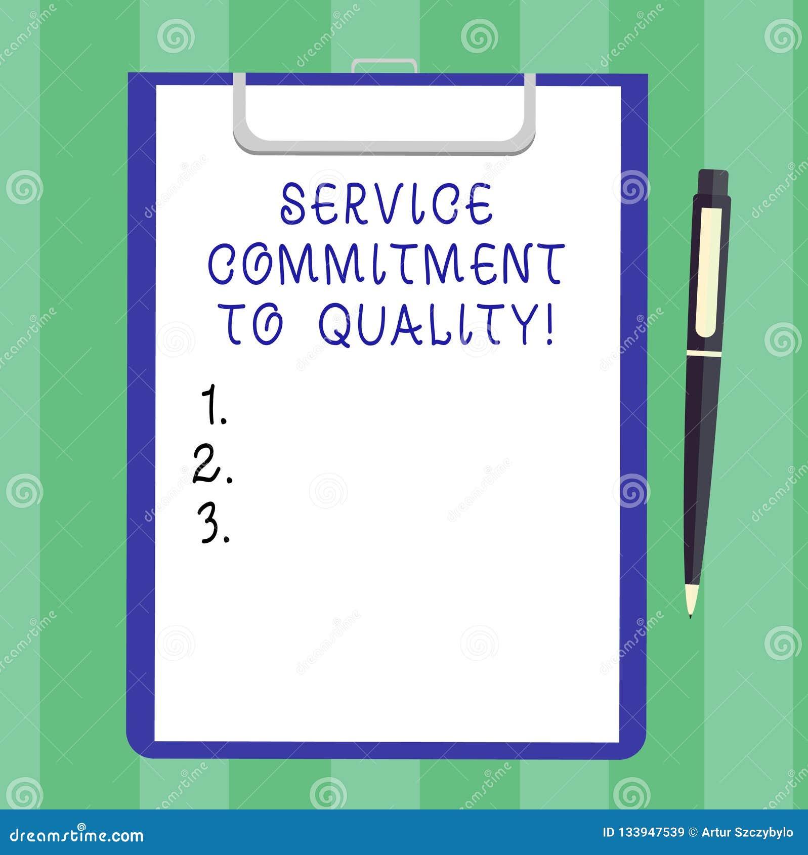 手写文本对质量的服务承诺 概念意思优秀优质好协助空白纸