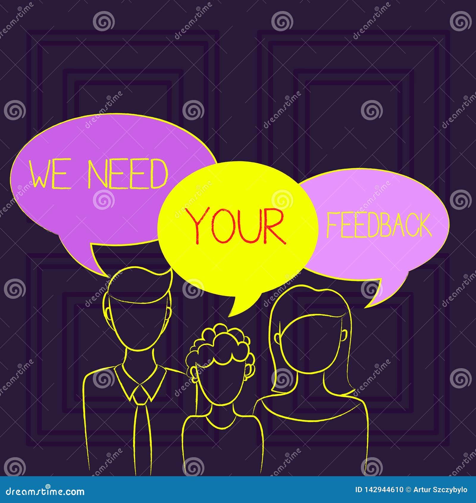 手写文本我们需要您的反馈 意味批评的概念指定说可以是做的改善家庭一个