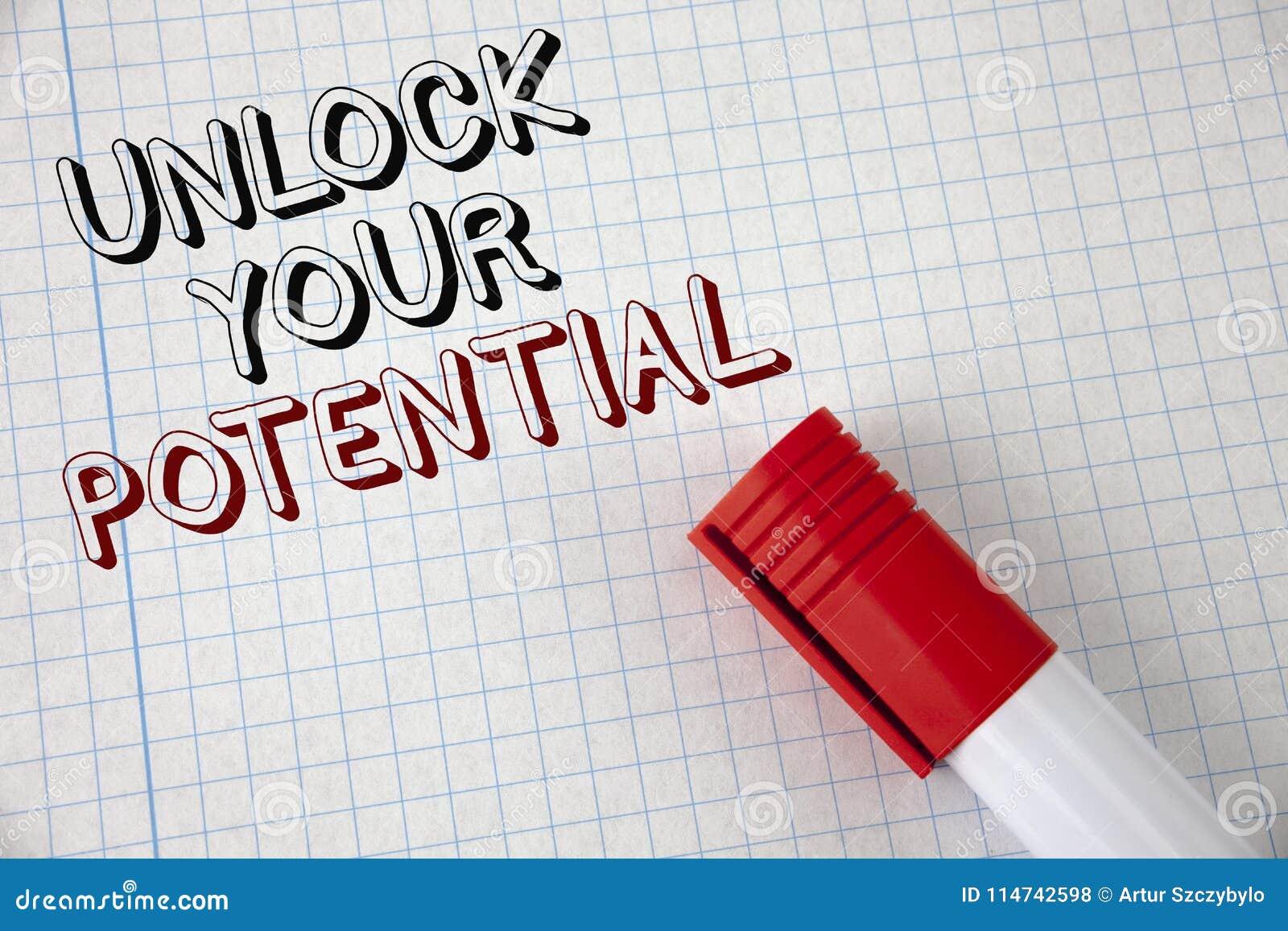 手写文本打开您的潜力 概念意思显露天分开发在笔记本写的能力展示个人技能P