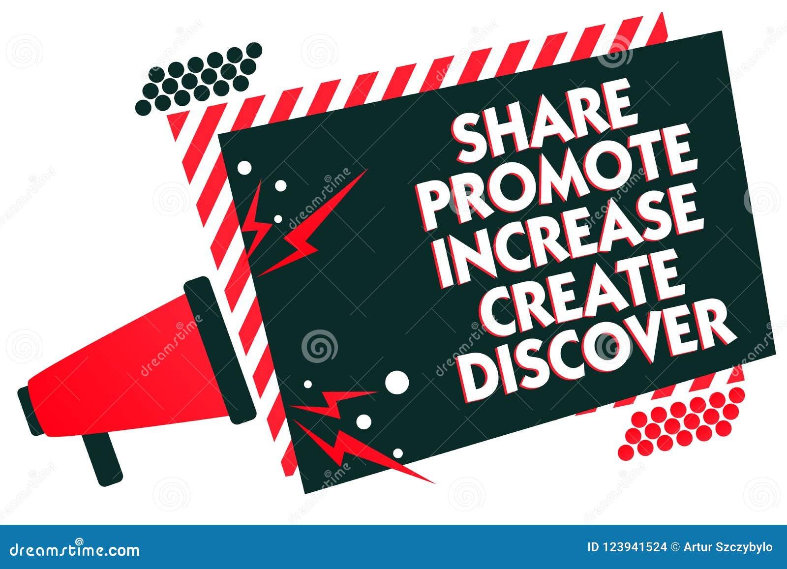 手写文本文字份额促进增量创造发现 概念意思营销启发刺激扩音机loudsp