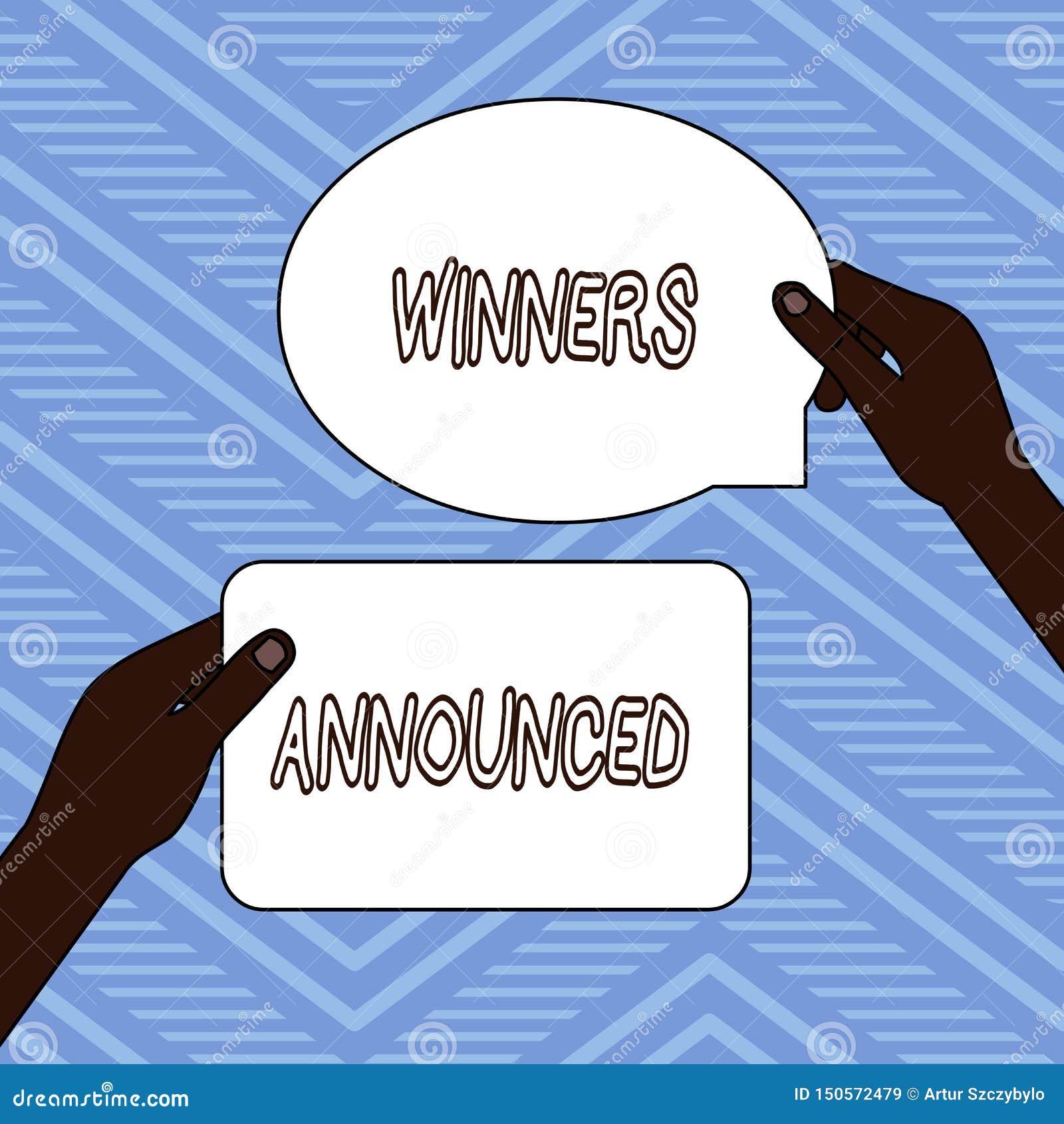 手写文本文字优胜者宣布了 意味赢得比赛或所有竞争两空白的宣布的概念