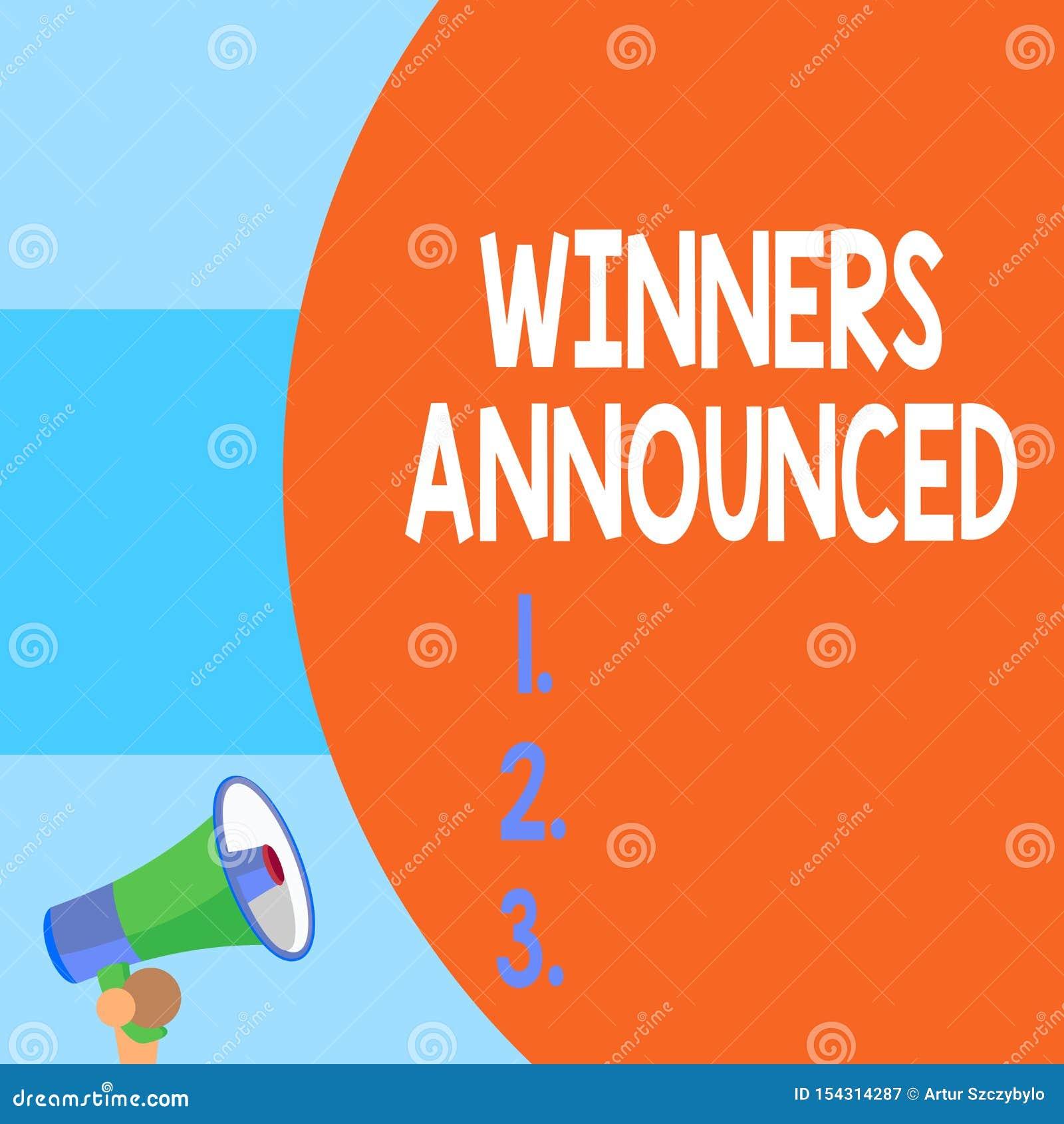 手写文本文字优胜者宣布了 概念赢得比赛或任何竞争半零件的意思宣布