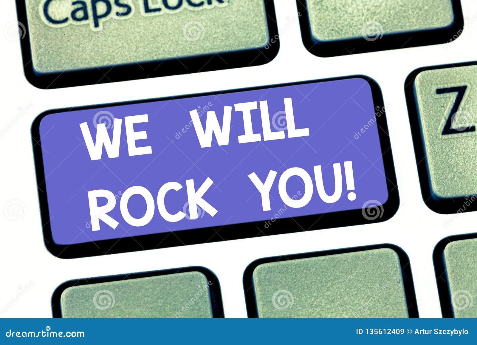 手写文本文字我们将震动您 意味摇摆物口号音乐曲调启发刺激键盘的概念