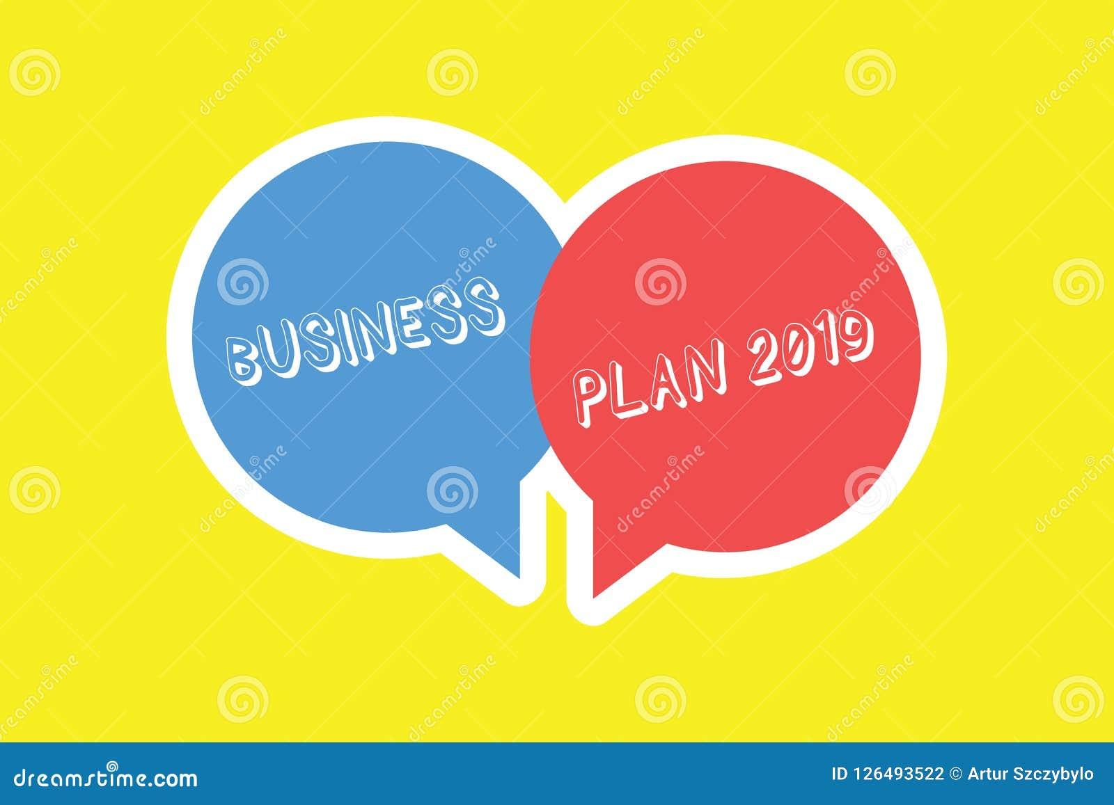 手写文本经营计划2019年 意味富挑战性企业想法和目标的概念新年