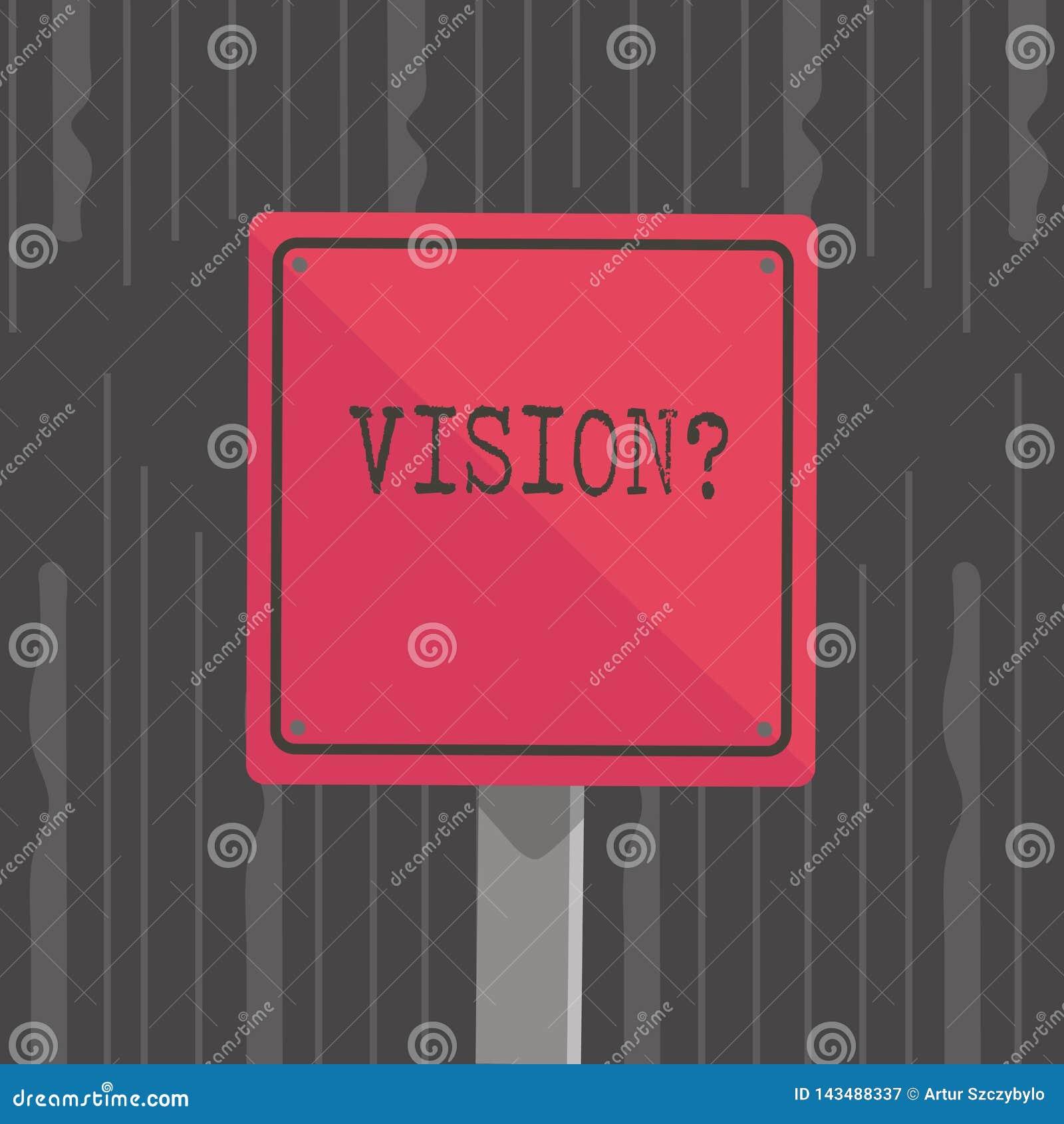 手写文本Visionquestion 概念意思描述未来现实状态3D正方形空白的公司承诺