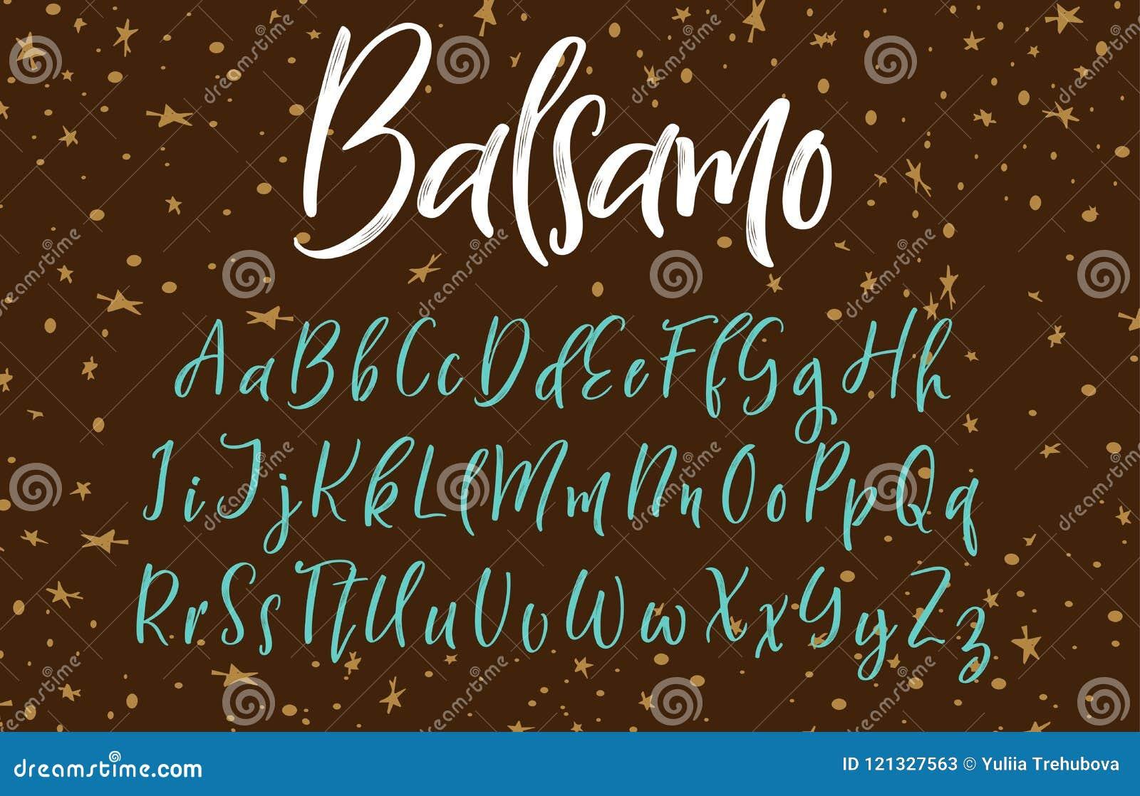 手写的书法字体 scrapbooking向量的字母表要素 拉长的现有量信函