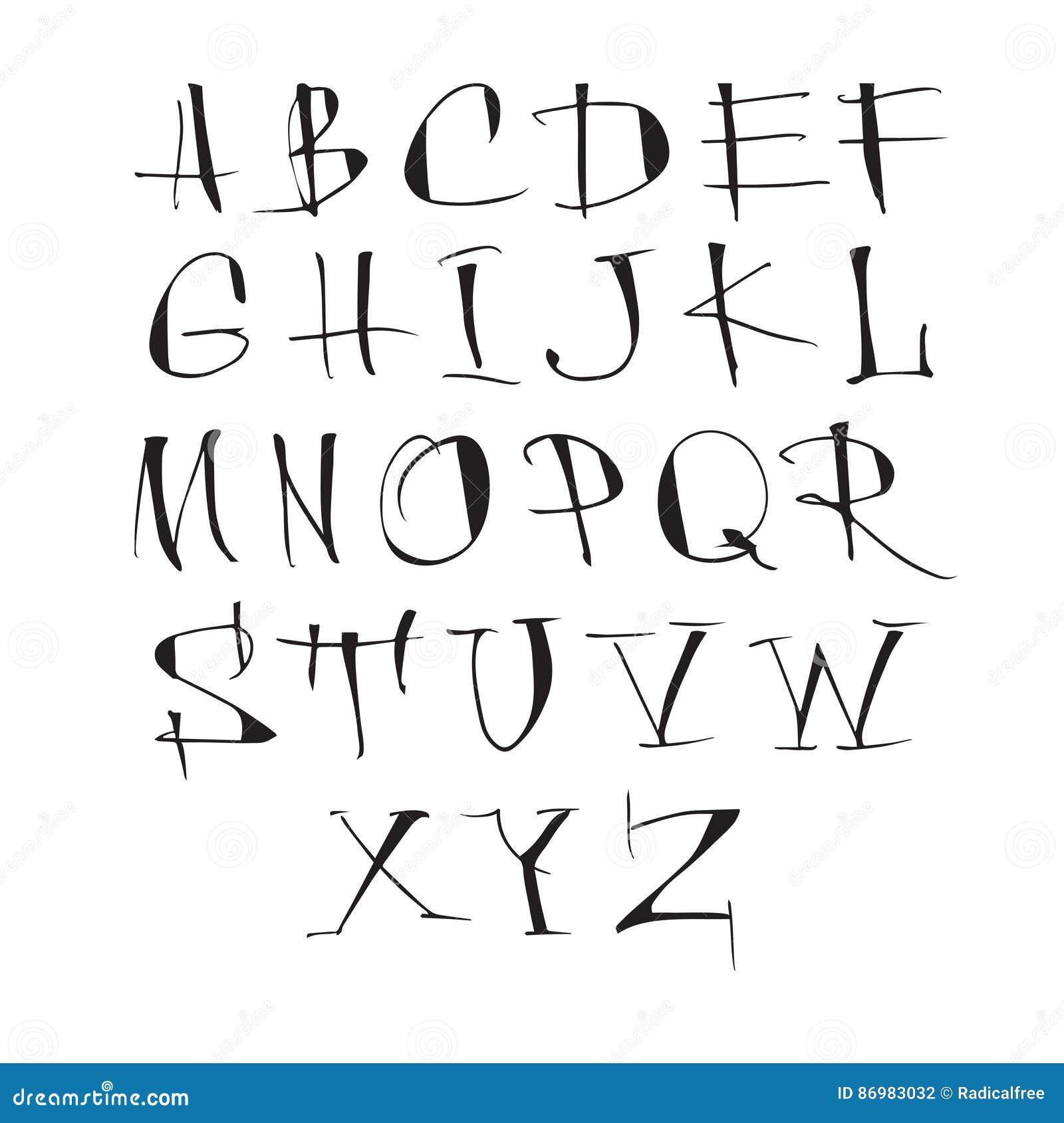 手写的在白色背景的传染媒介书法黑字母表